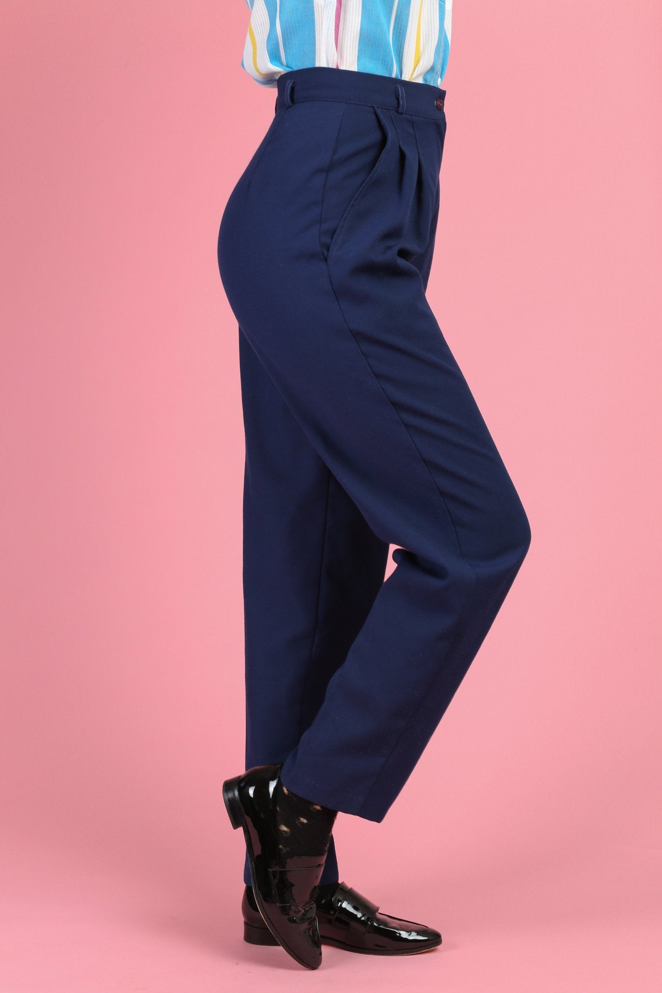 80s Navy Blue High Waist Trousers - Small, 27""