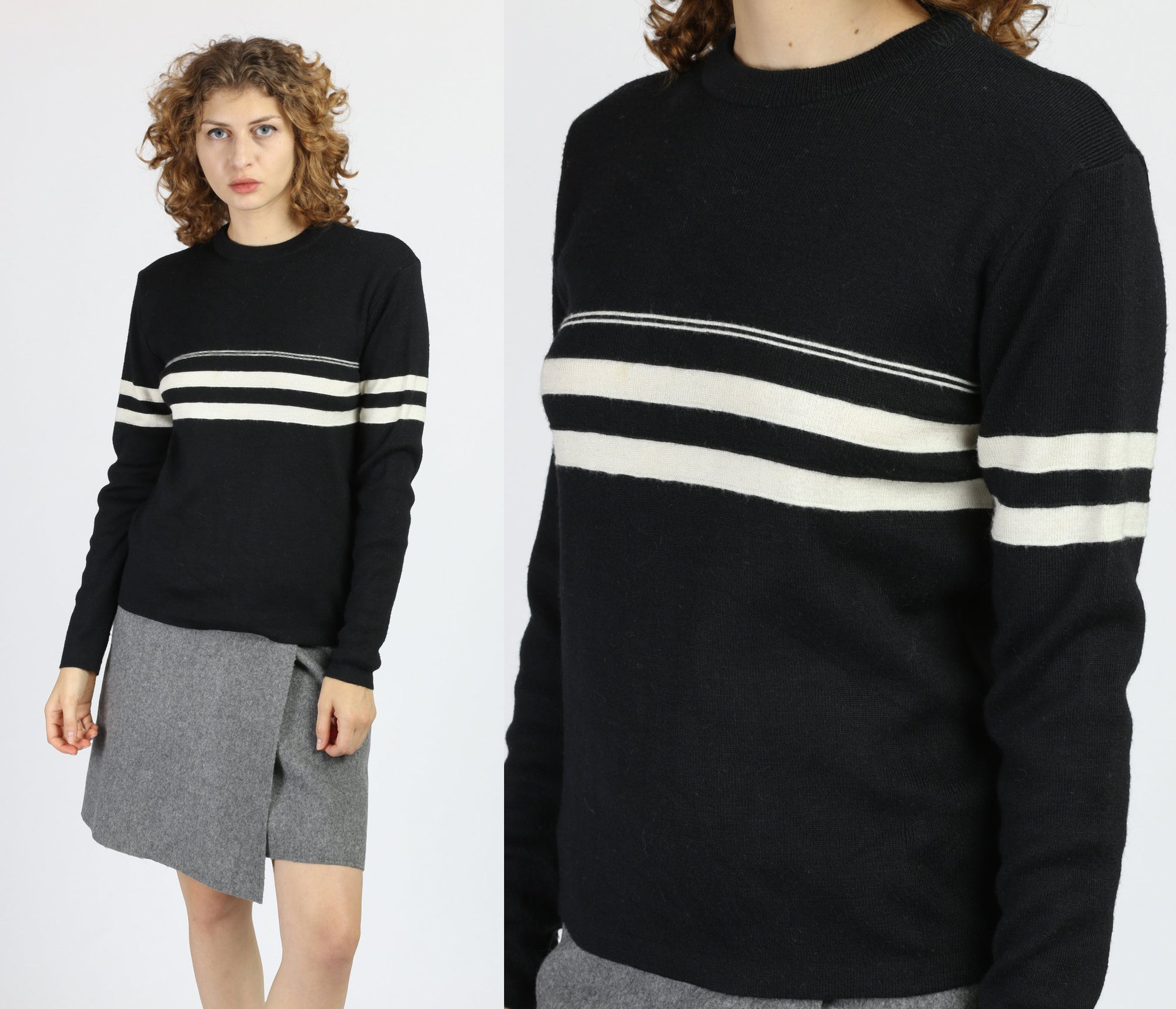 70s 80s Black & White Striped Sweater - Small to Medium