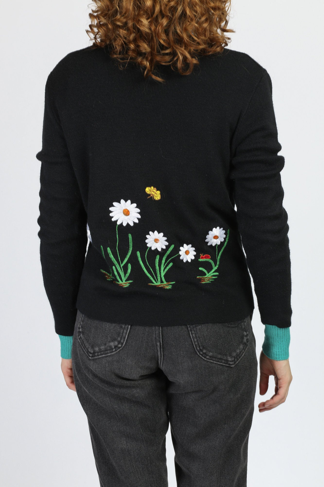 70s Embroidered Flower & Butterfly Sweater - Large