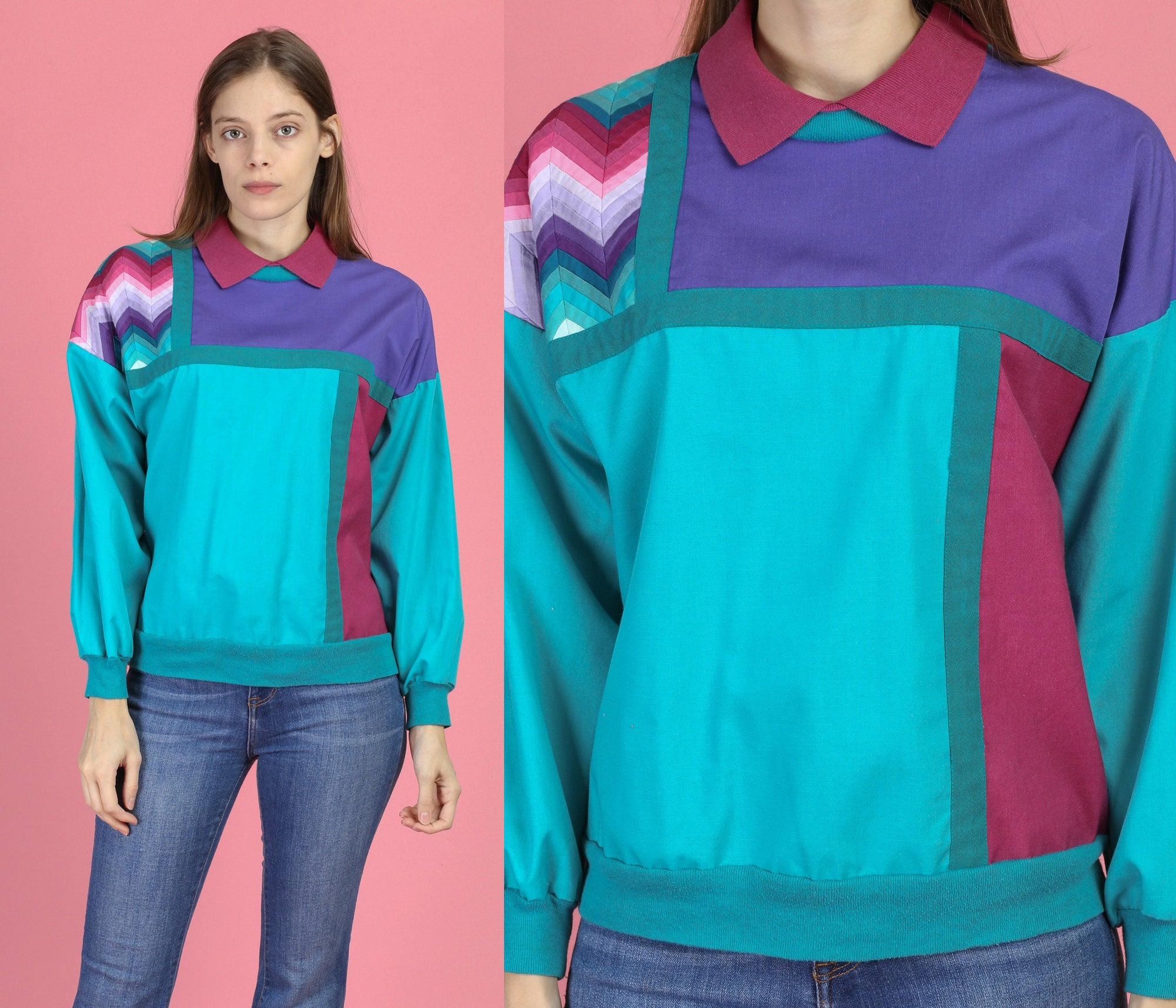 80s Color Block Long Sleeve Top - Medium to Large
