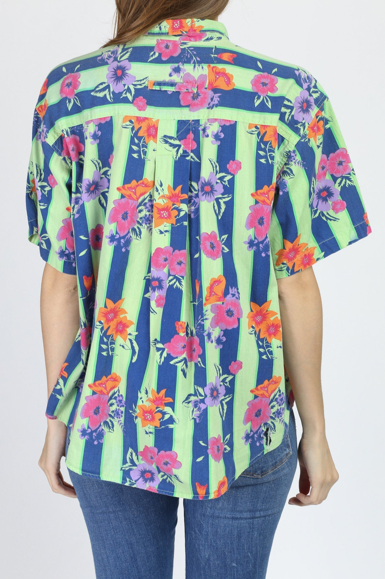 90s Bright Striped Floral Shirt - Large