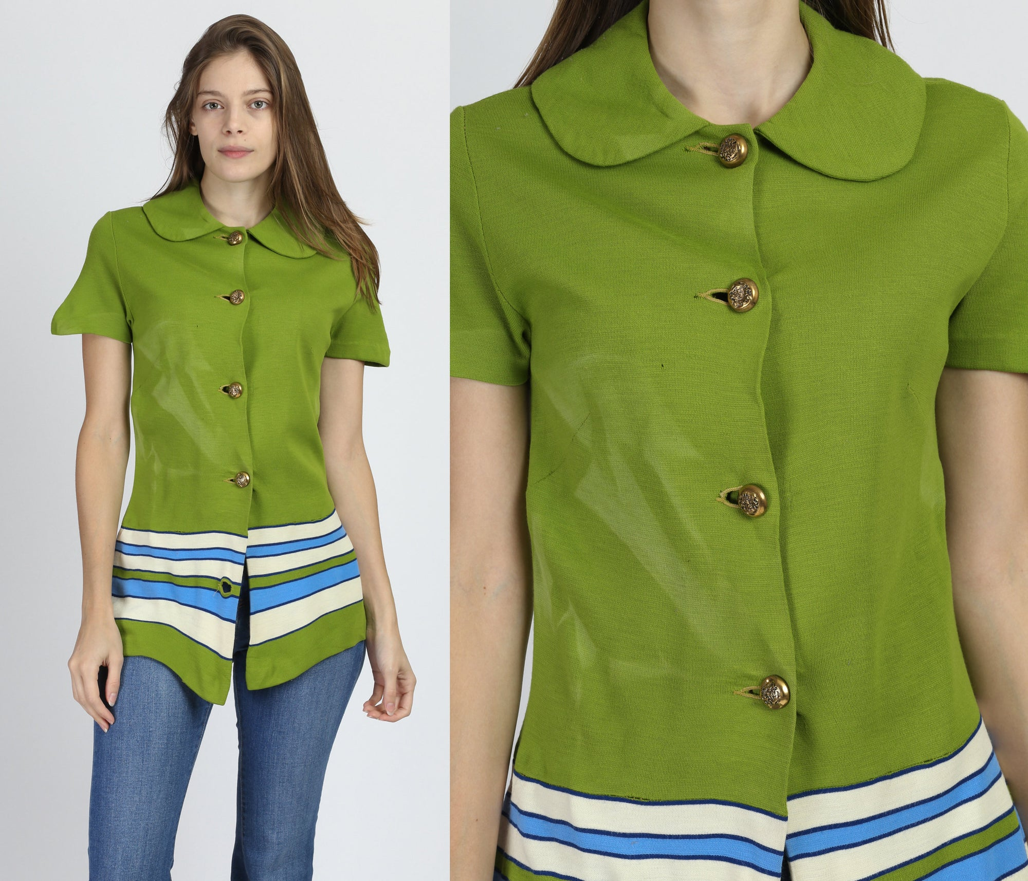 60s Green Striped Costume Top - Extra Small