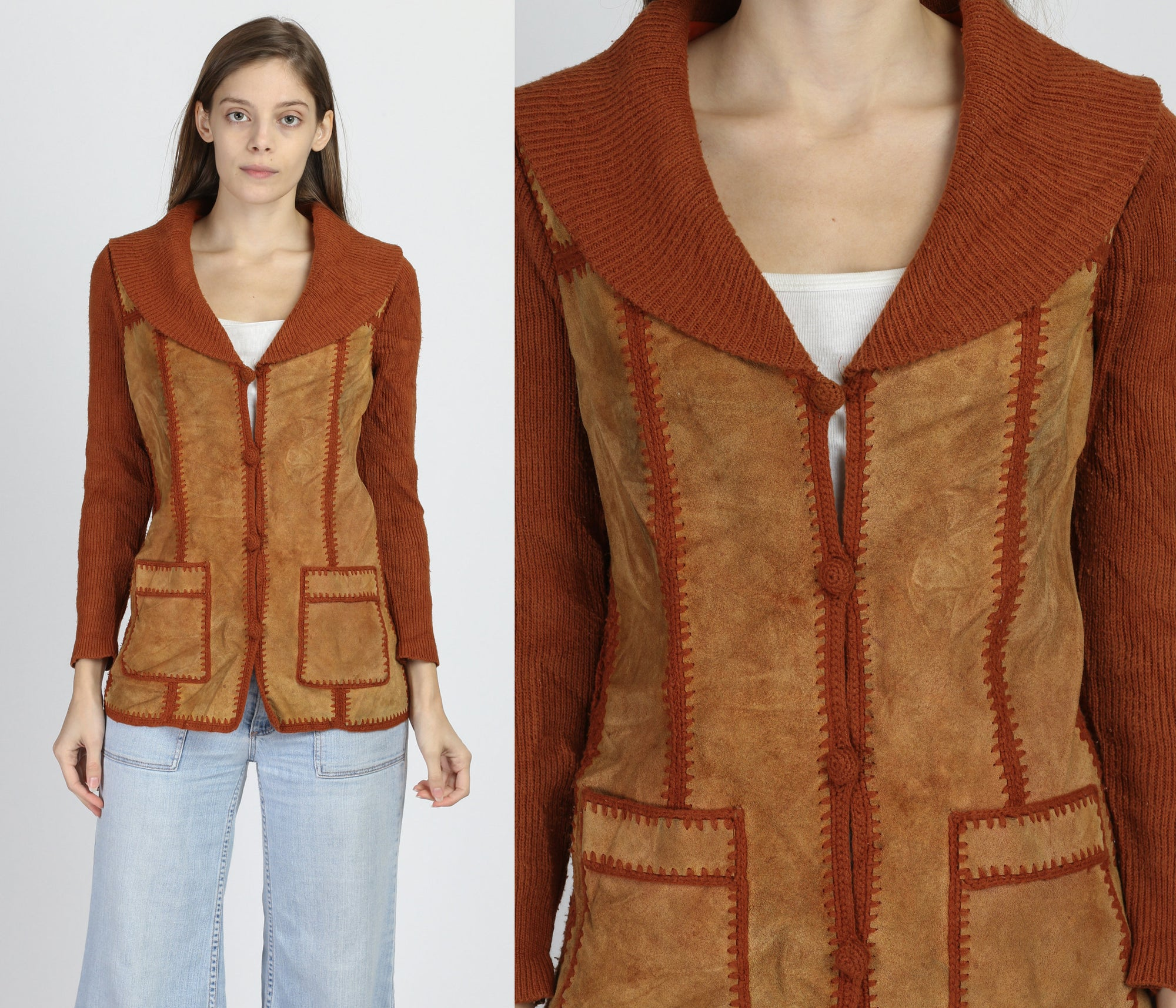 70s Suede & Knit Cardigan - Small