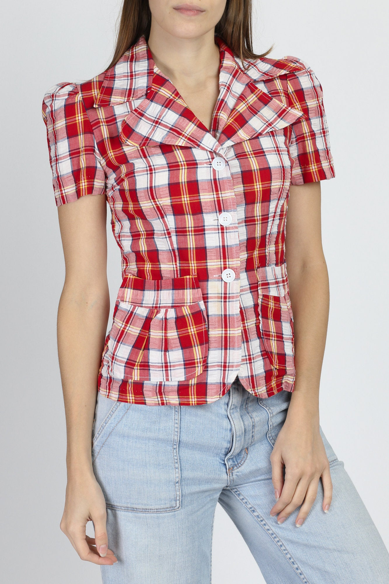 70s Plaid Puff Sleeve Pocket Blouse - Extra Small