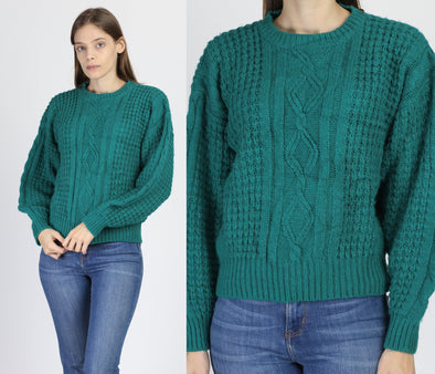 Vintage Green Cable Knit Sweater - Medium