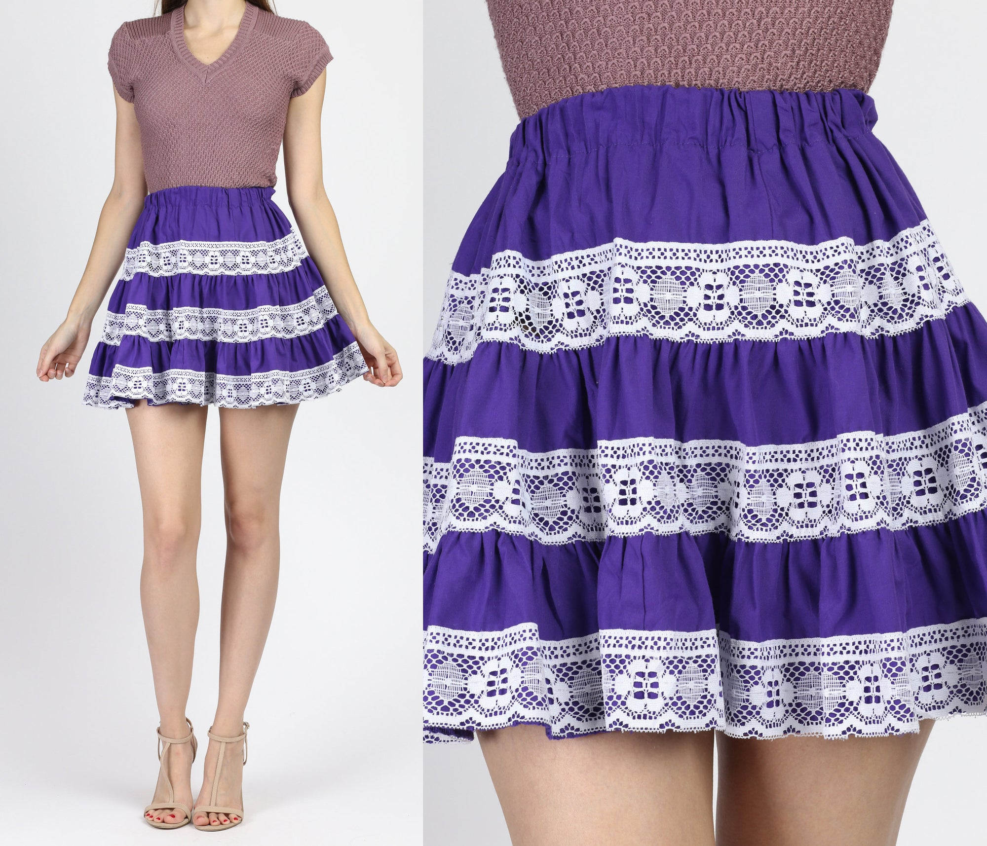 Vintage Purple & White Lace Rockabily Mini Skirt - XXS to XS