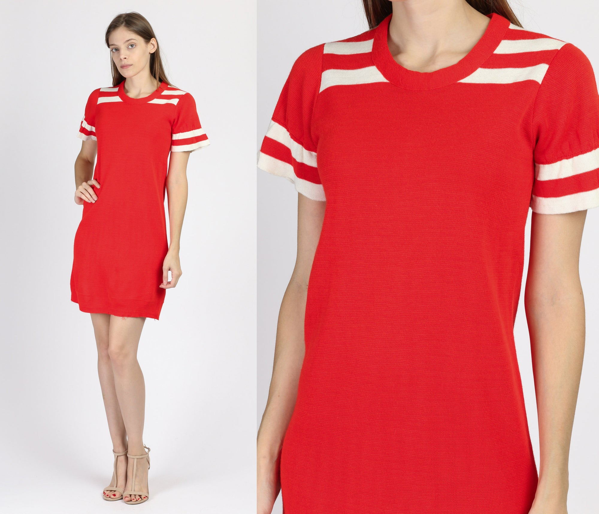 60s Charlie's Girls Red & White Mod Mini Dress - Small