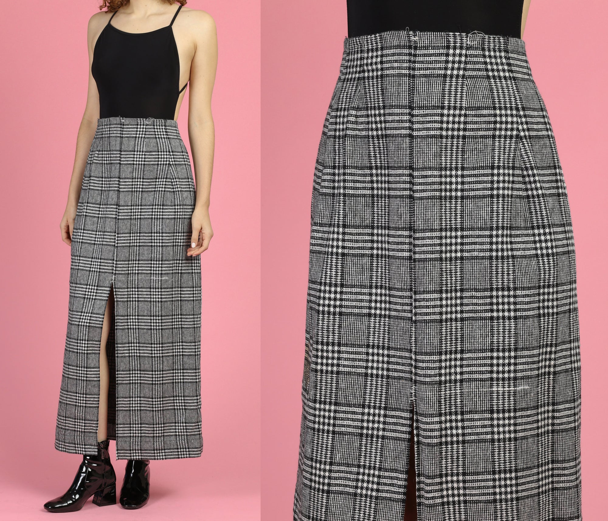 1960s Black & White Plaid Maxi Skirt - Small