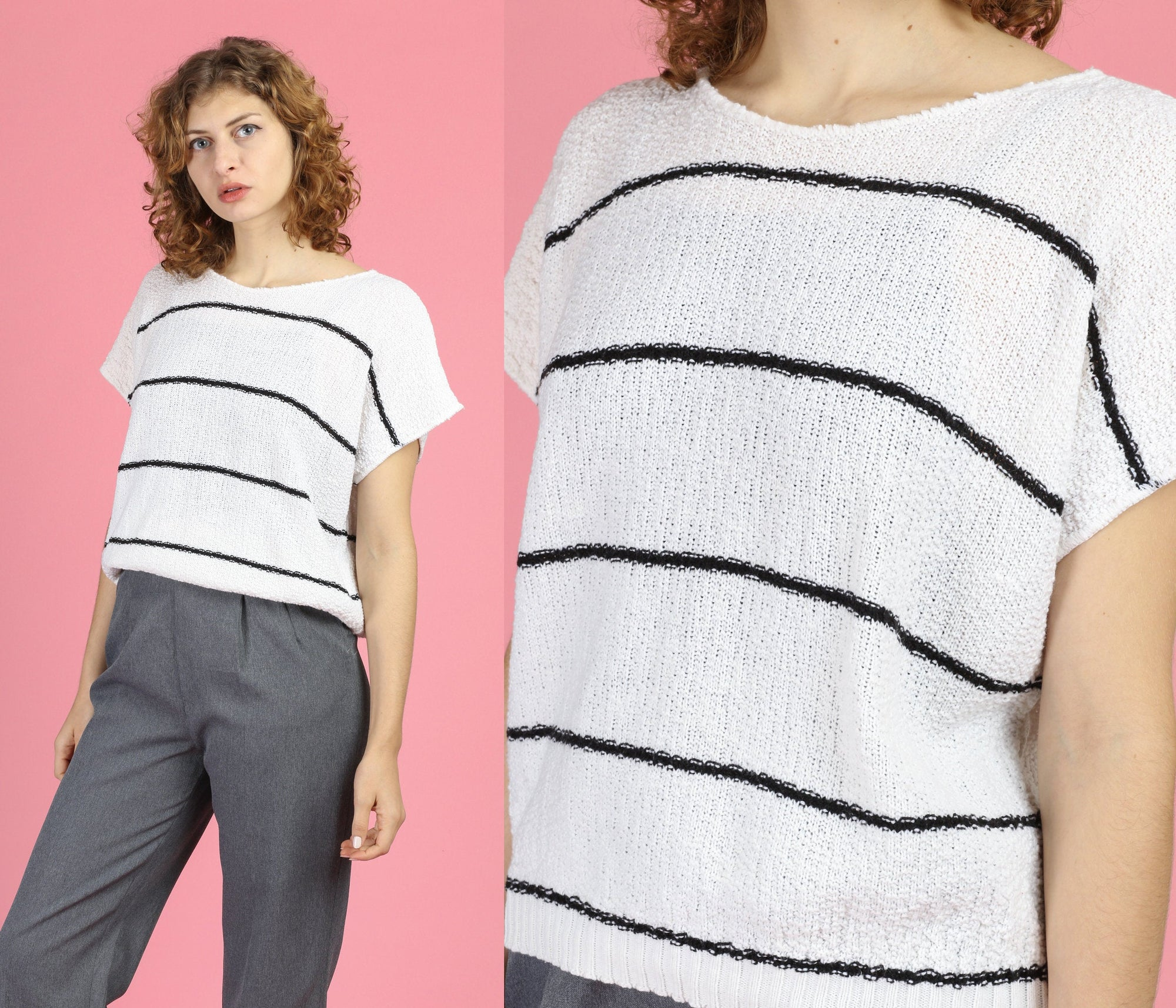 80s Black & White Striped Knit Top - Extra Large