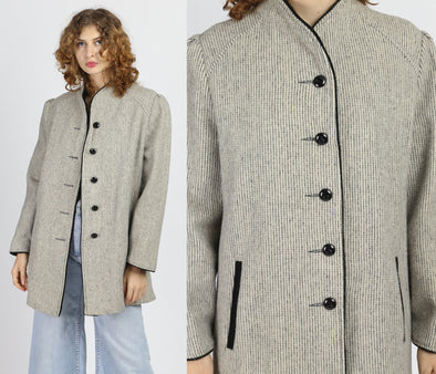 Vintage Gray Striped Wool Button Up Coat - Large