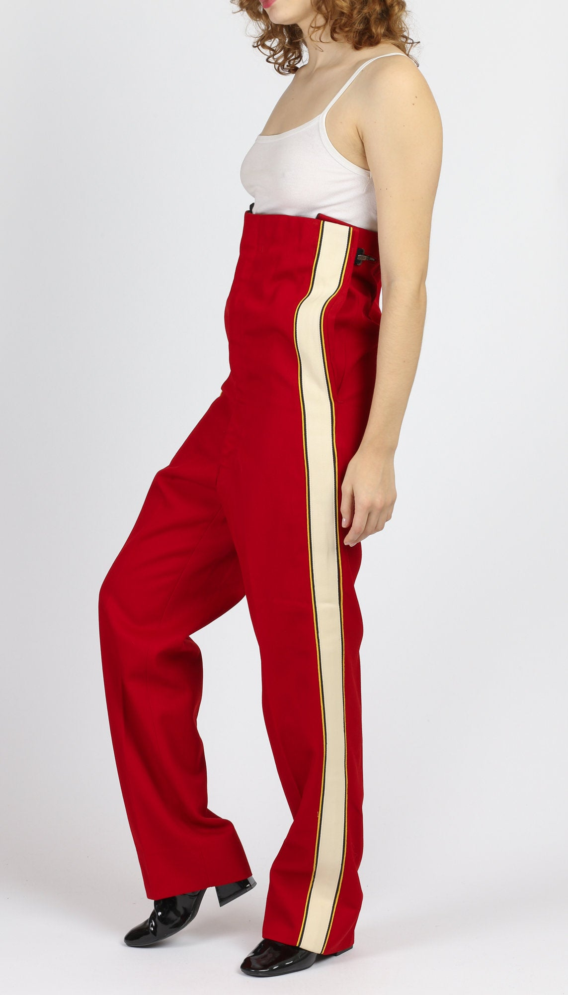 70s Red High Waist Marching Band Pants - Men's Medium