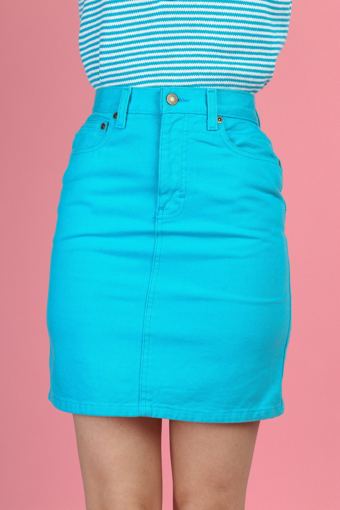 90s Bright Blue Denim Mini Skirt - Extra Small