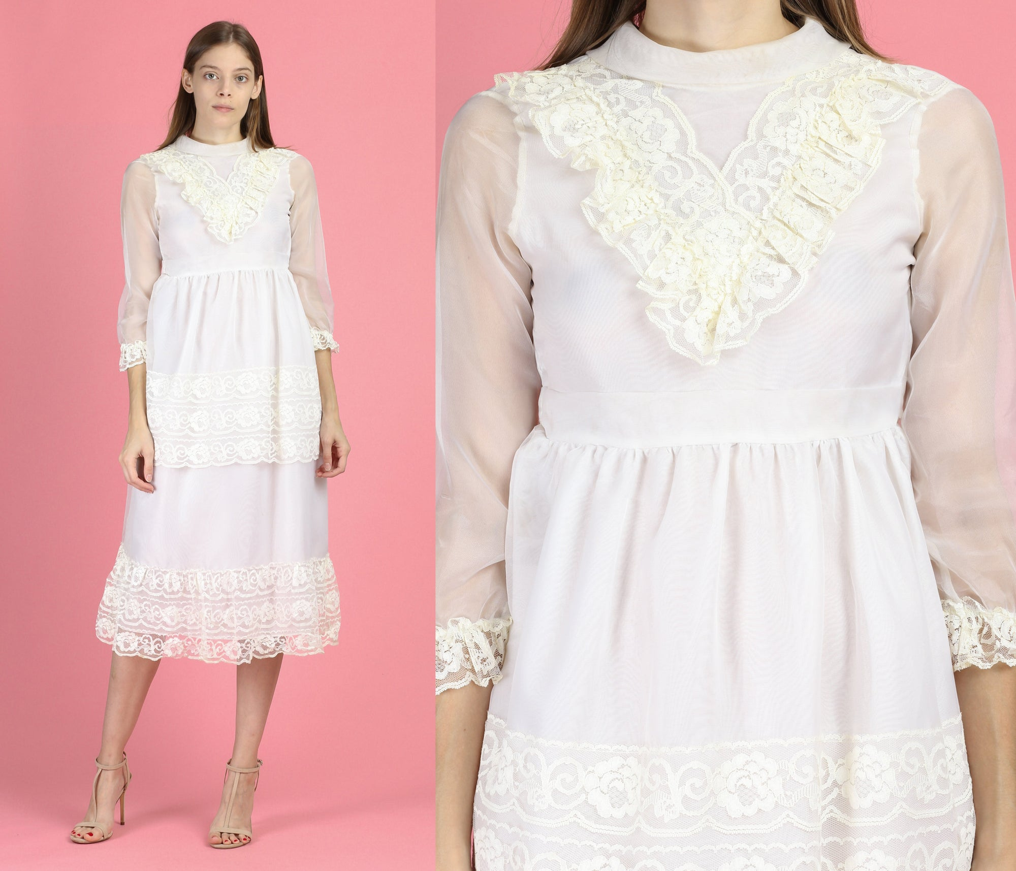 70s Girl's White Lace Formal Dress - Women's XXS