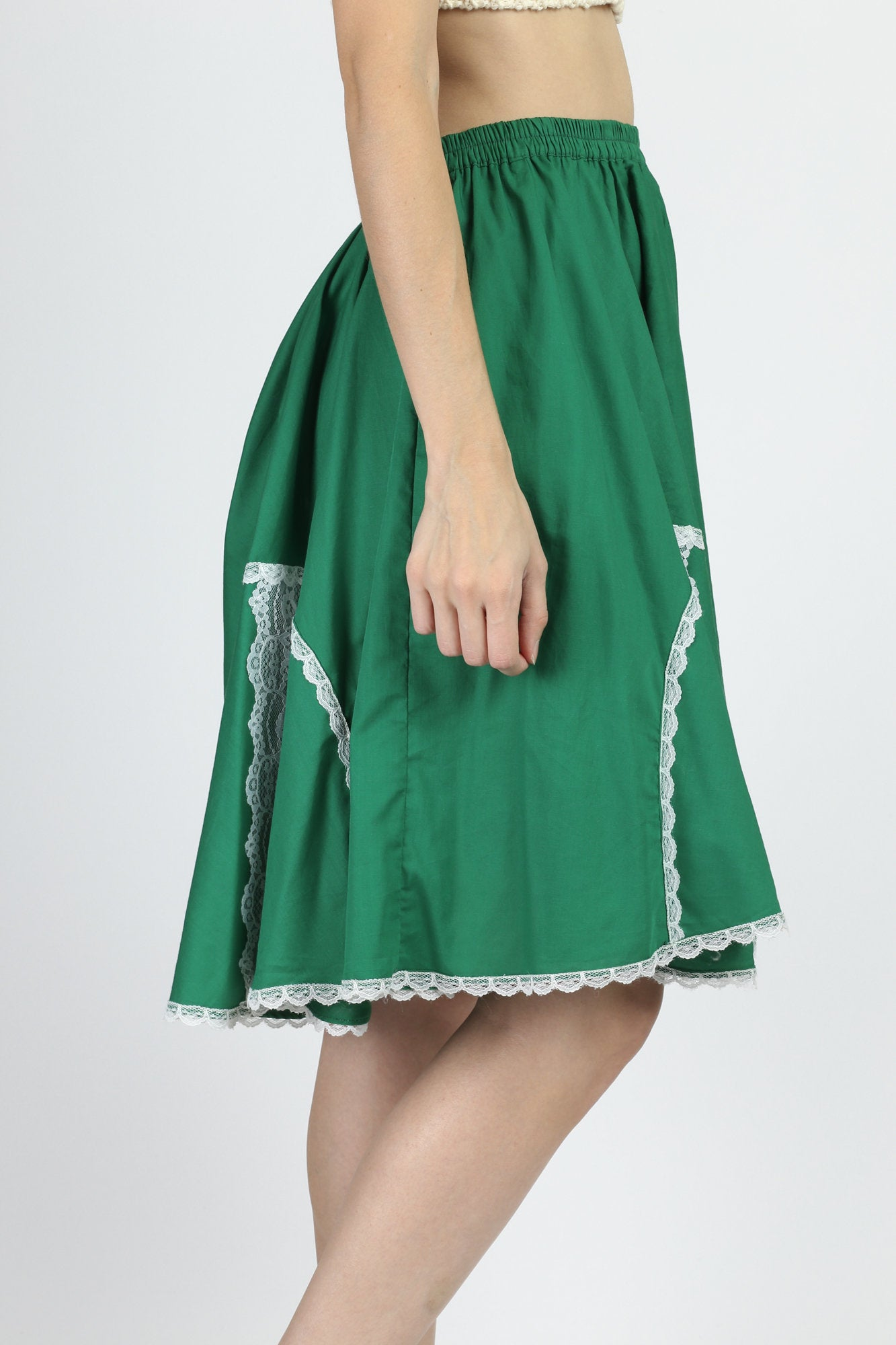 70s 80s Green & White Lace Rockabilly Skirt - Medium to Large