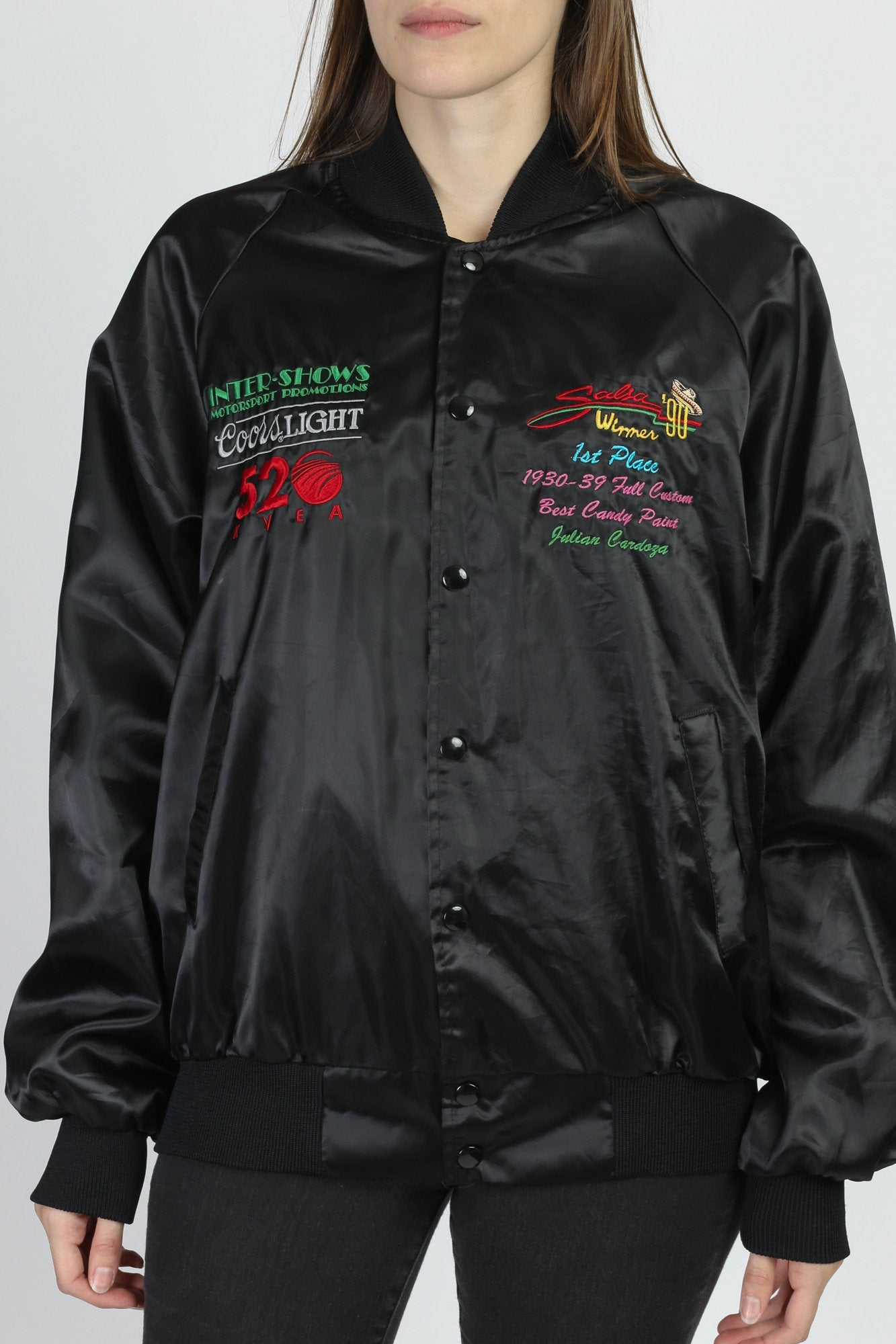 90s Black Satin Lowrider Car Show Bomber Windbreaker - Men's Large