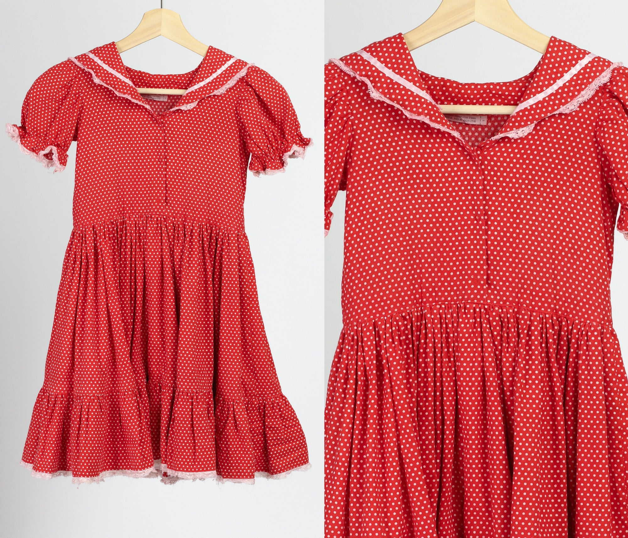 60s 70s Girl's Red & White Polka Dot Dress - Small
