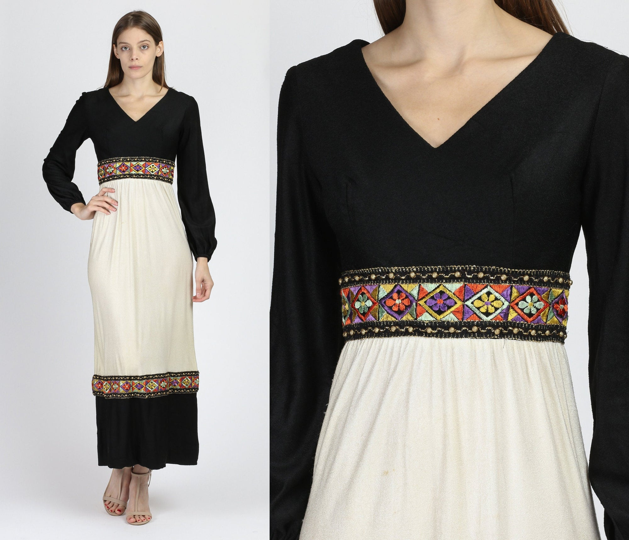 60s 70s Boho Embroidered Trim Maxi Dress - Extra Small