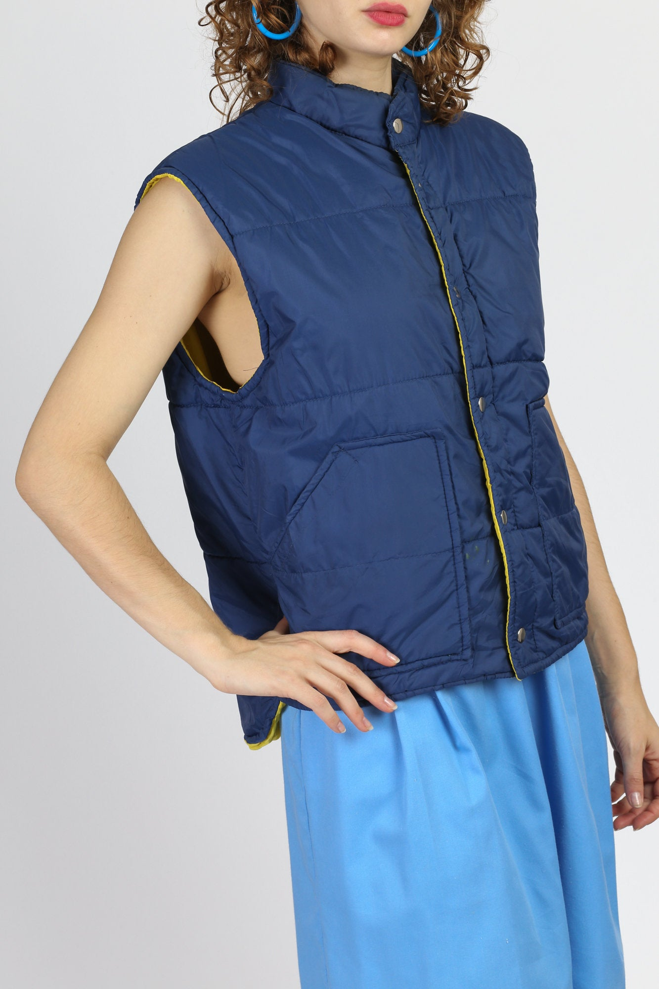 70s Blue Puffer Vest - Men's Medium, Women's Large