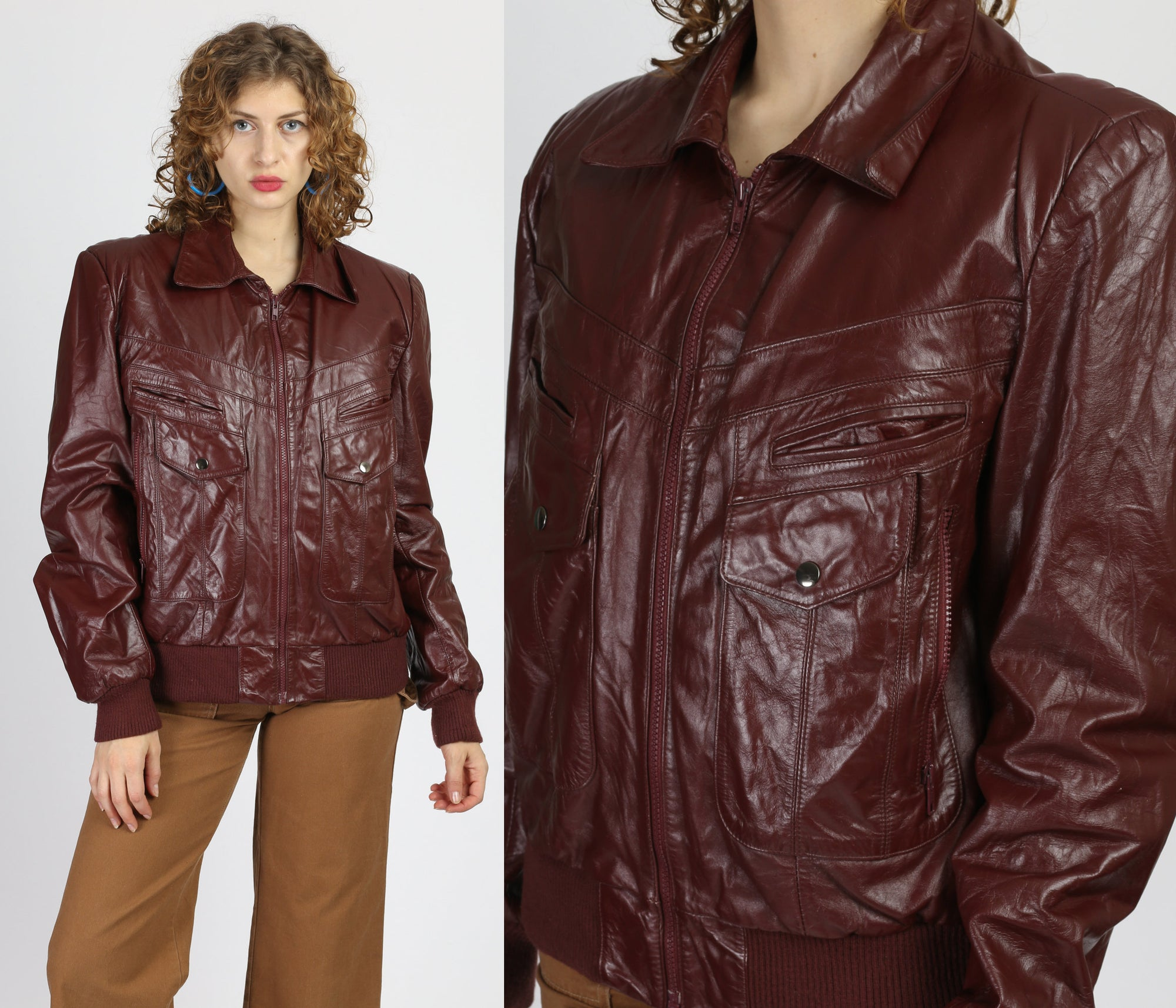 80s Berman's Brown Leather Bomber Jacket - Men's Medium