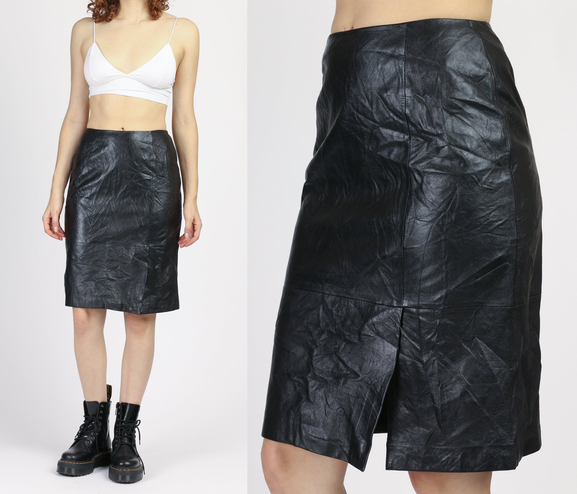 90s High Waist Black Leather Skirt - Small