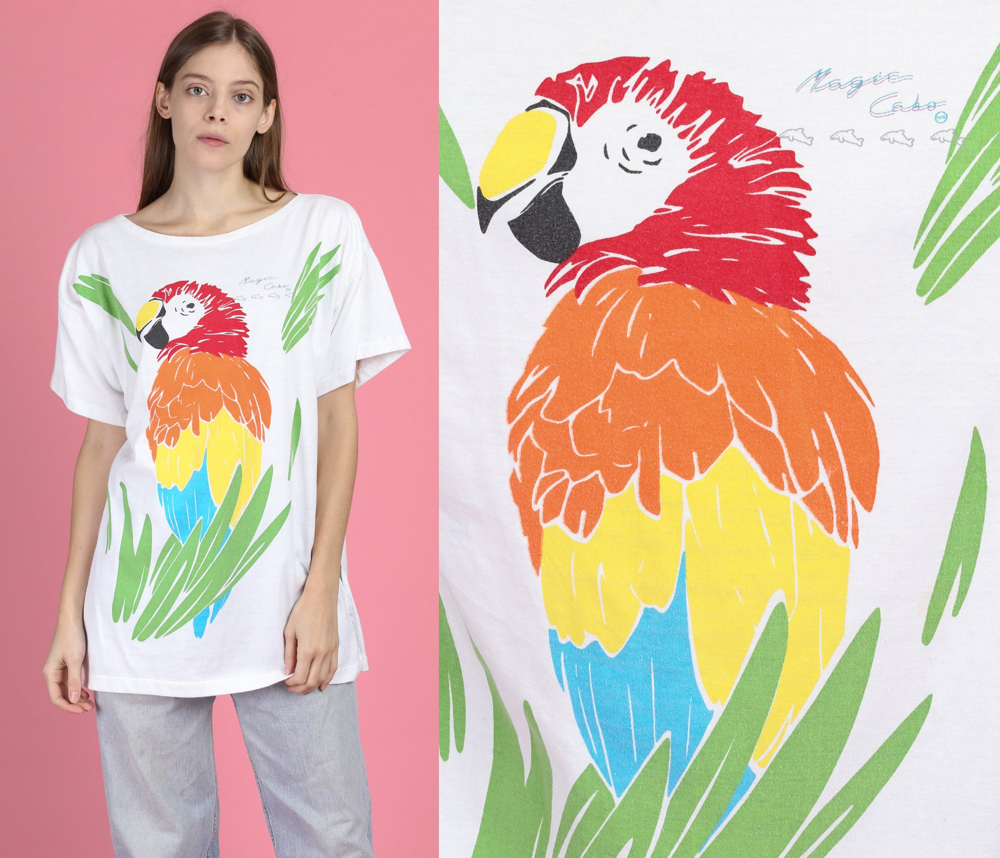 90s Macaw Parrot T Shirt - One Size