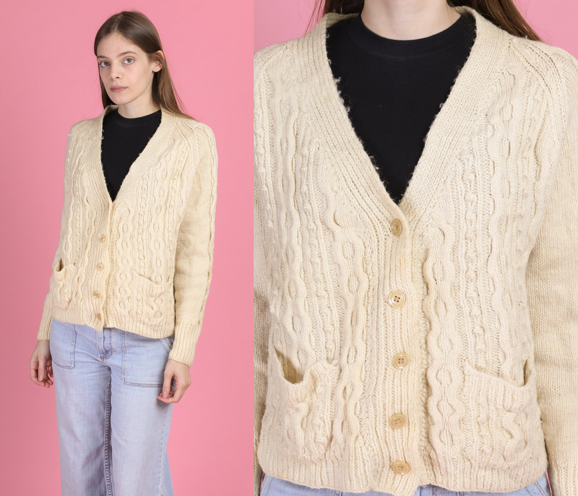 70s Cable Knit Fisherman Cardigan - Large