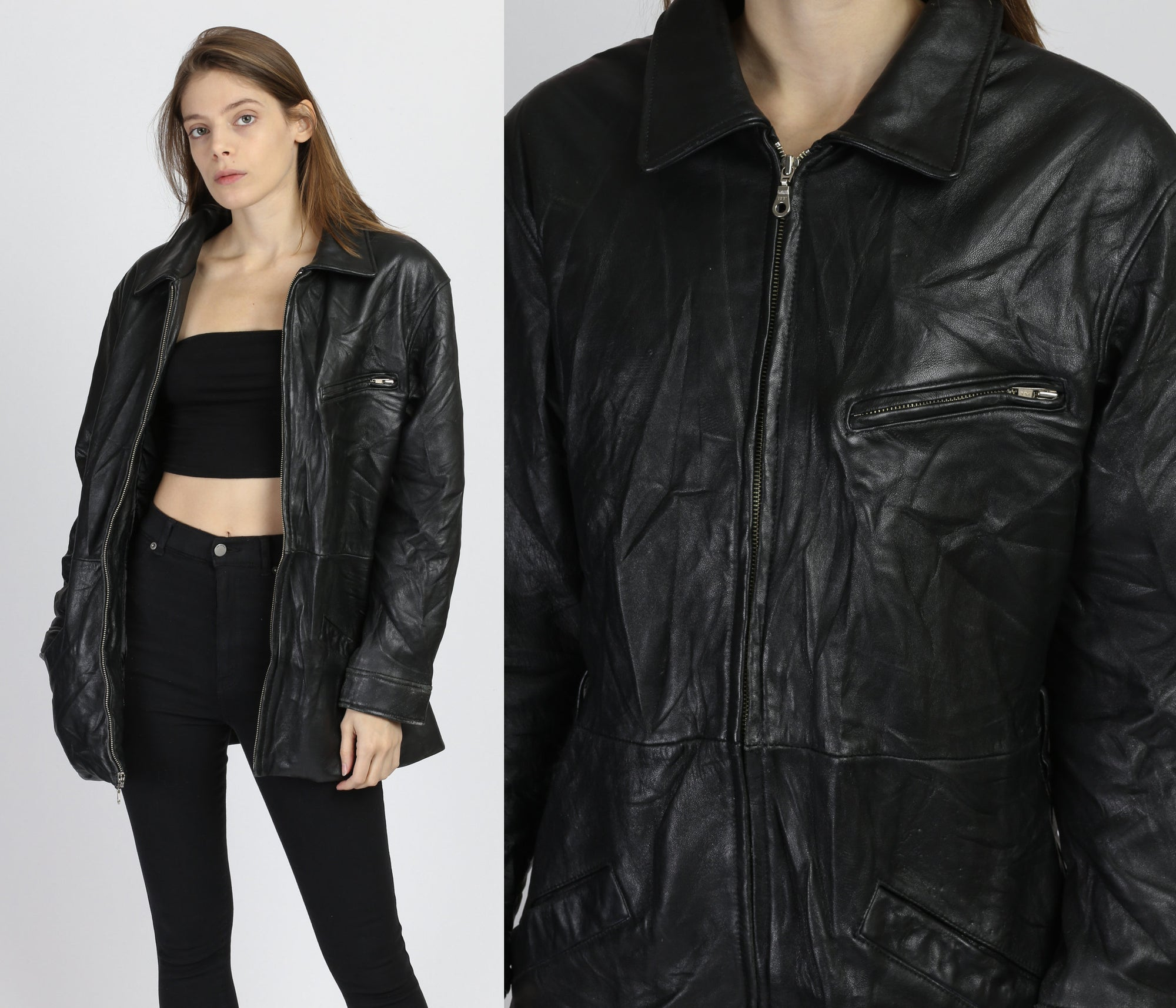 80s Wilsons Black Leather Jacket - Medium
