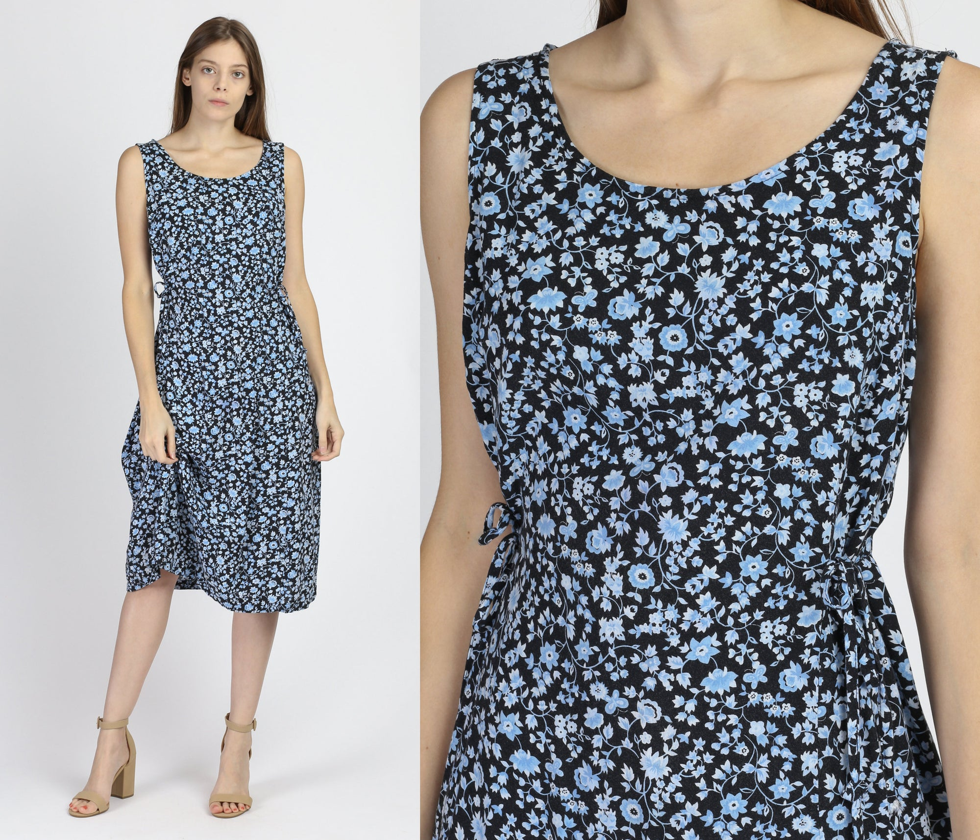 90s Grunge Blue Floral Side Tie Midi Dress - Large