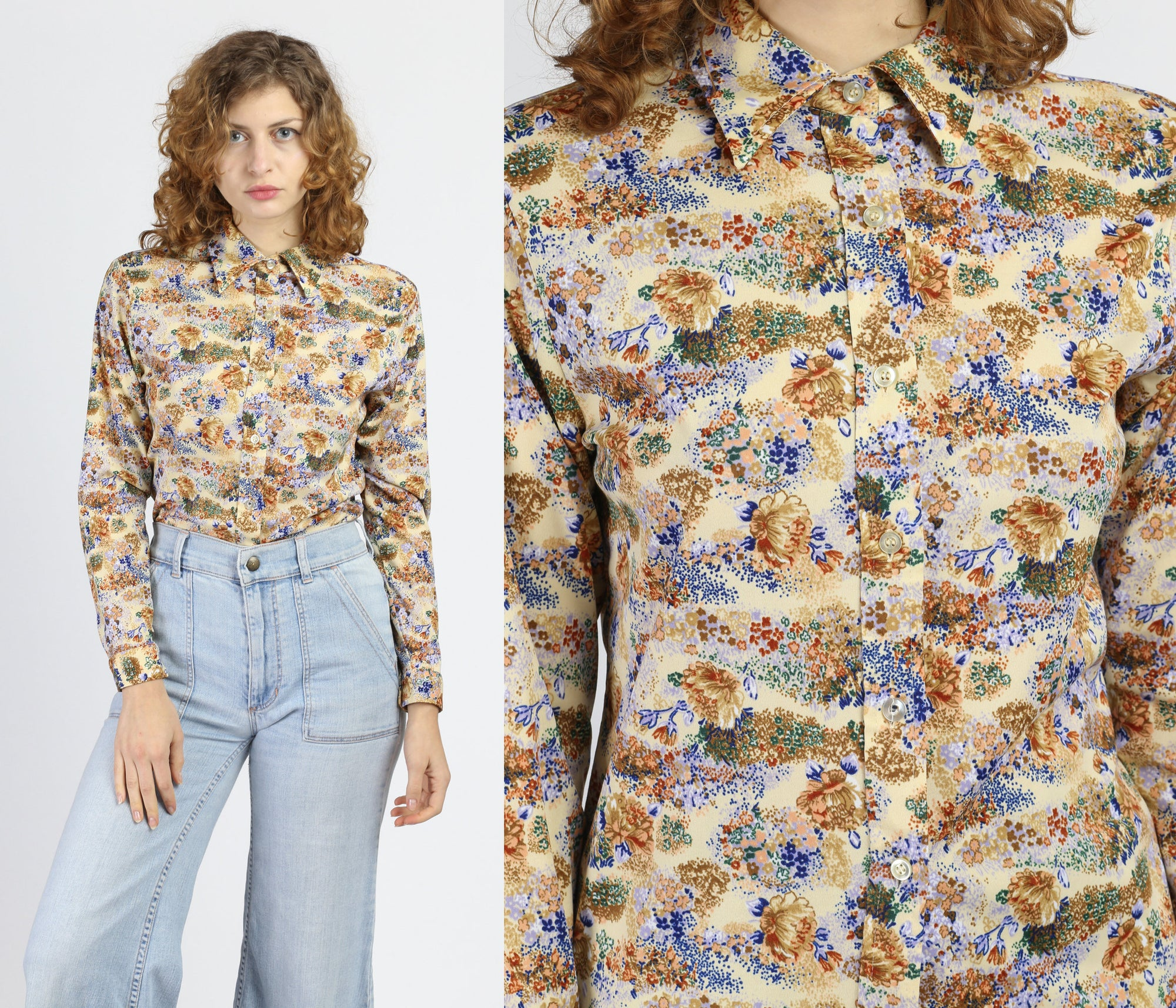 70s Boho Floral Button Up Top - Small