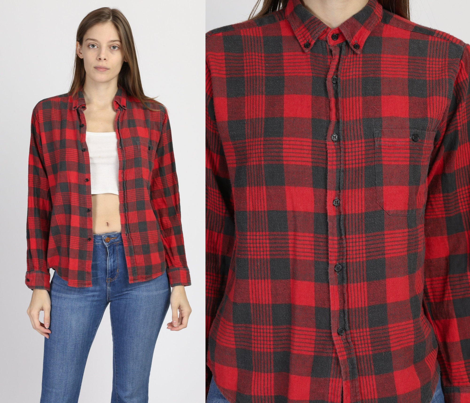 Vintage Grunge Plaid Flannel Shirt - Small