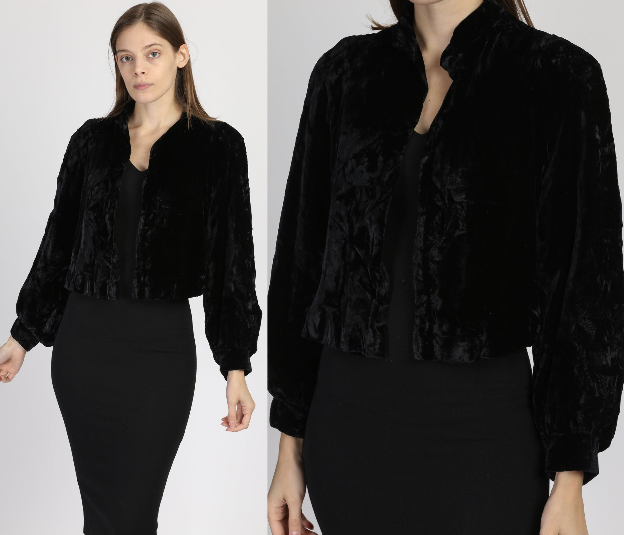 Vintage 1930s Black Velvet Bolero Jacket - Medium