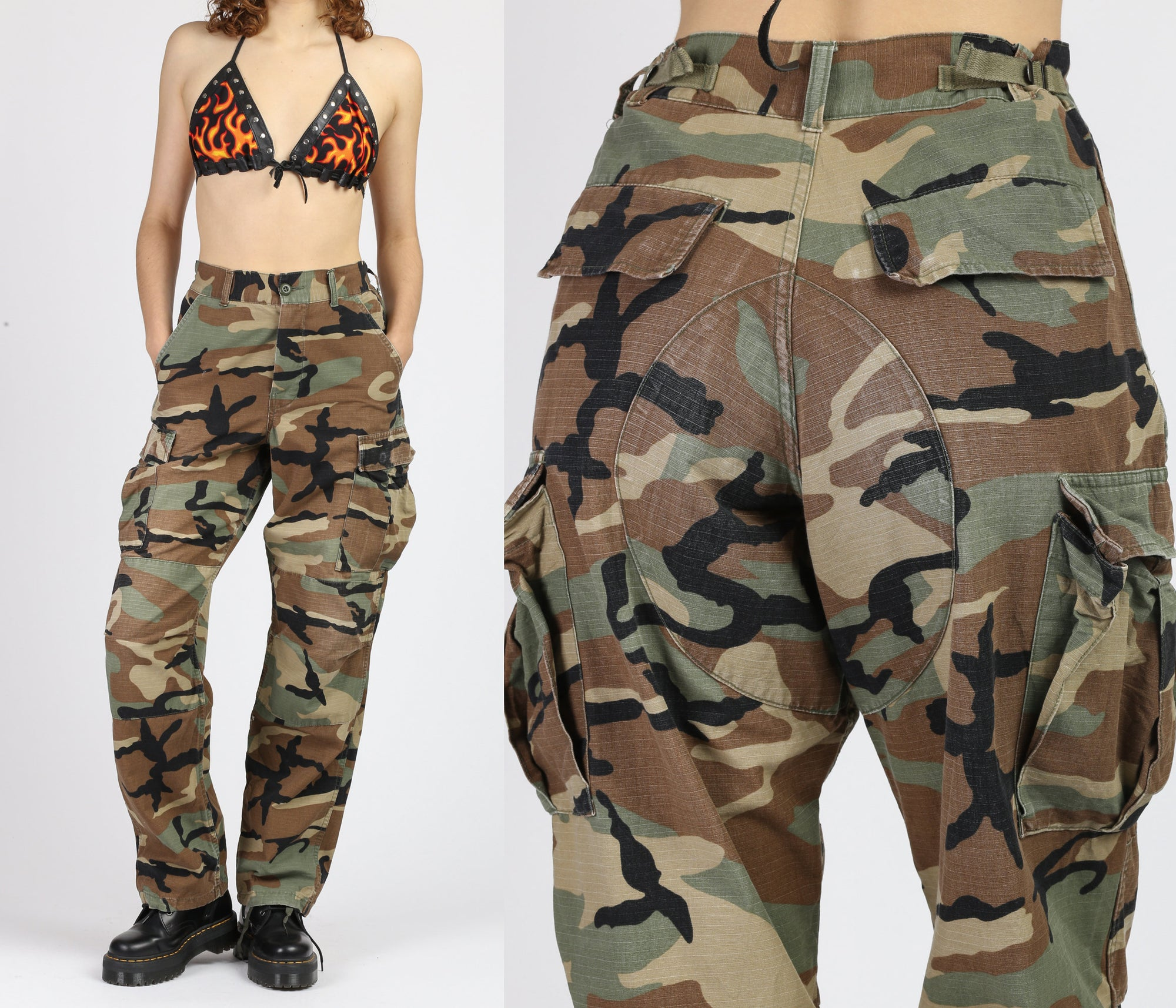 80s High Waisted Unisex Camo Pants - Small to Medium
