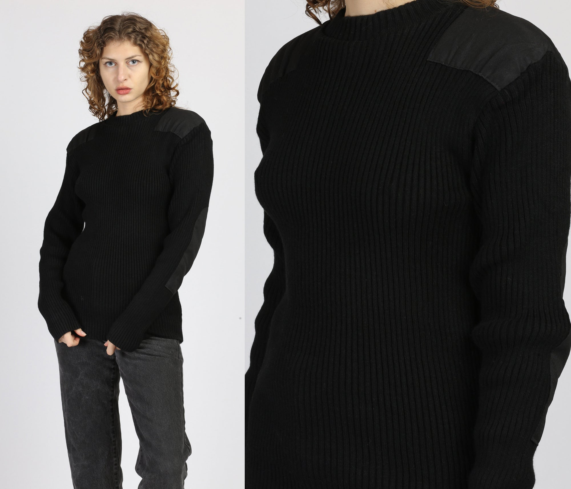 90s Black Commando Tactical Sweater - Small