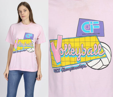 80s Volleyball Championship Graphic Tee - Large
