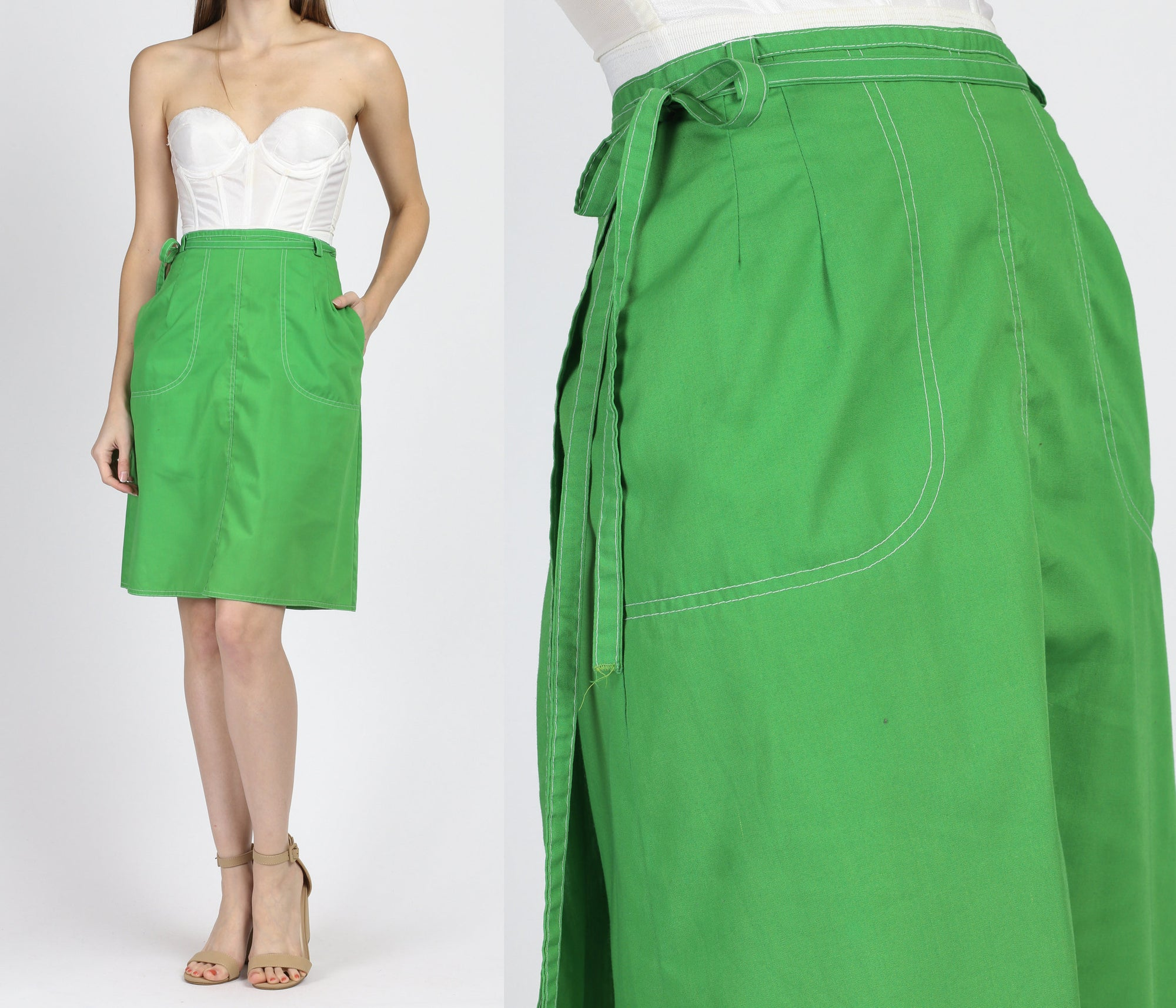 70s Kelly Green High Waist Pocket Wrap Skirt - XS to Small