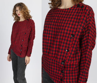 80s Plaid Batwing Top - Small