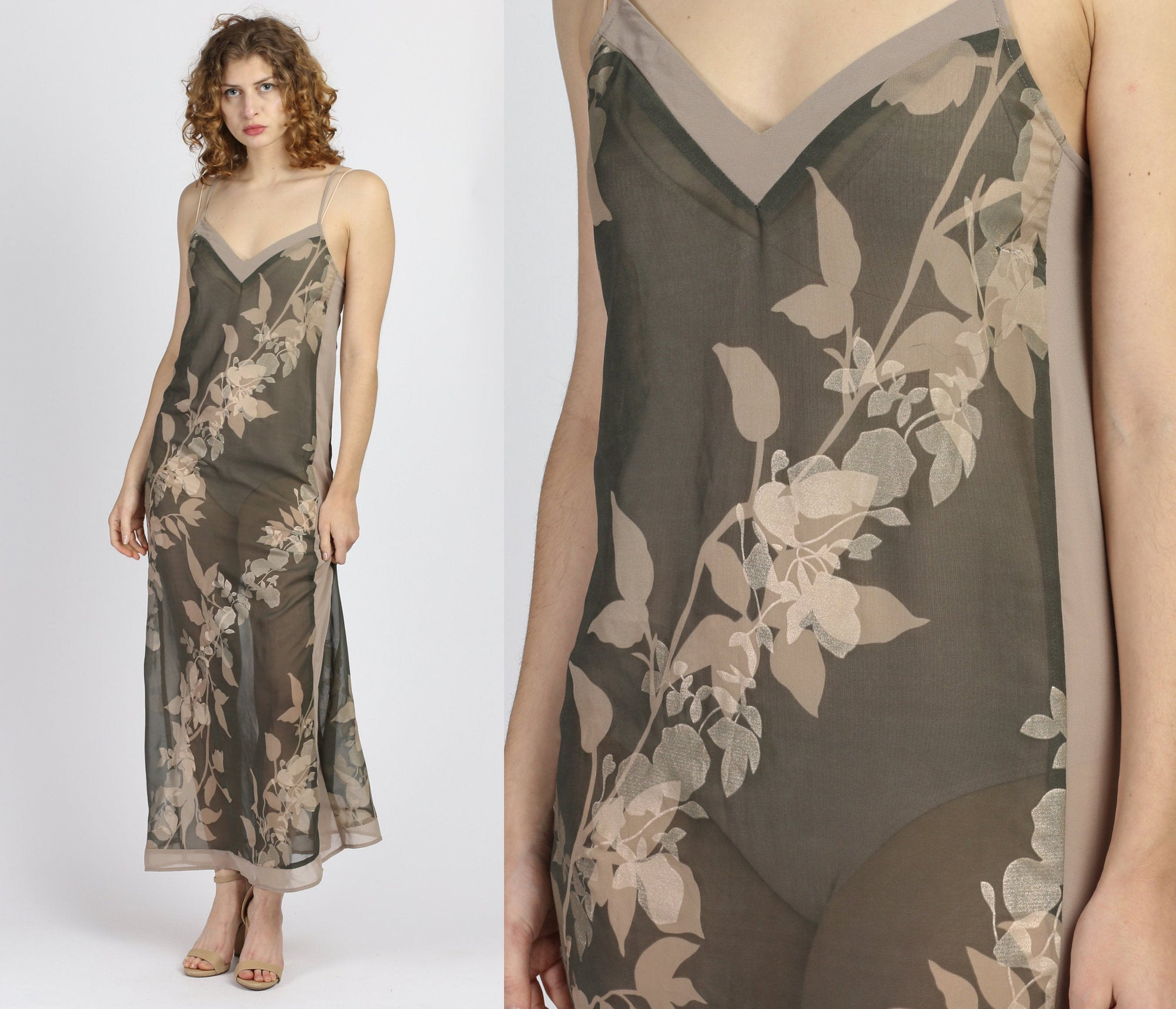 90s Beige Floral Slip Dress - Small