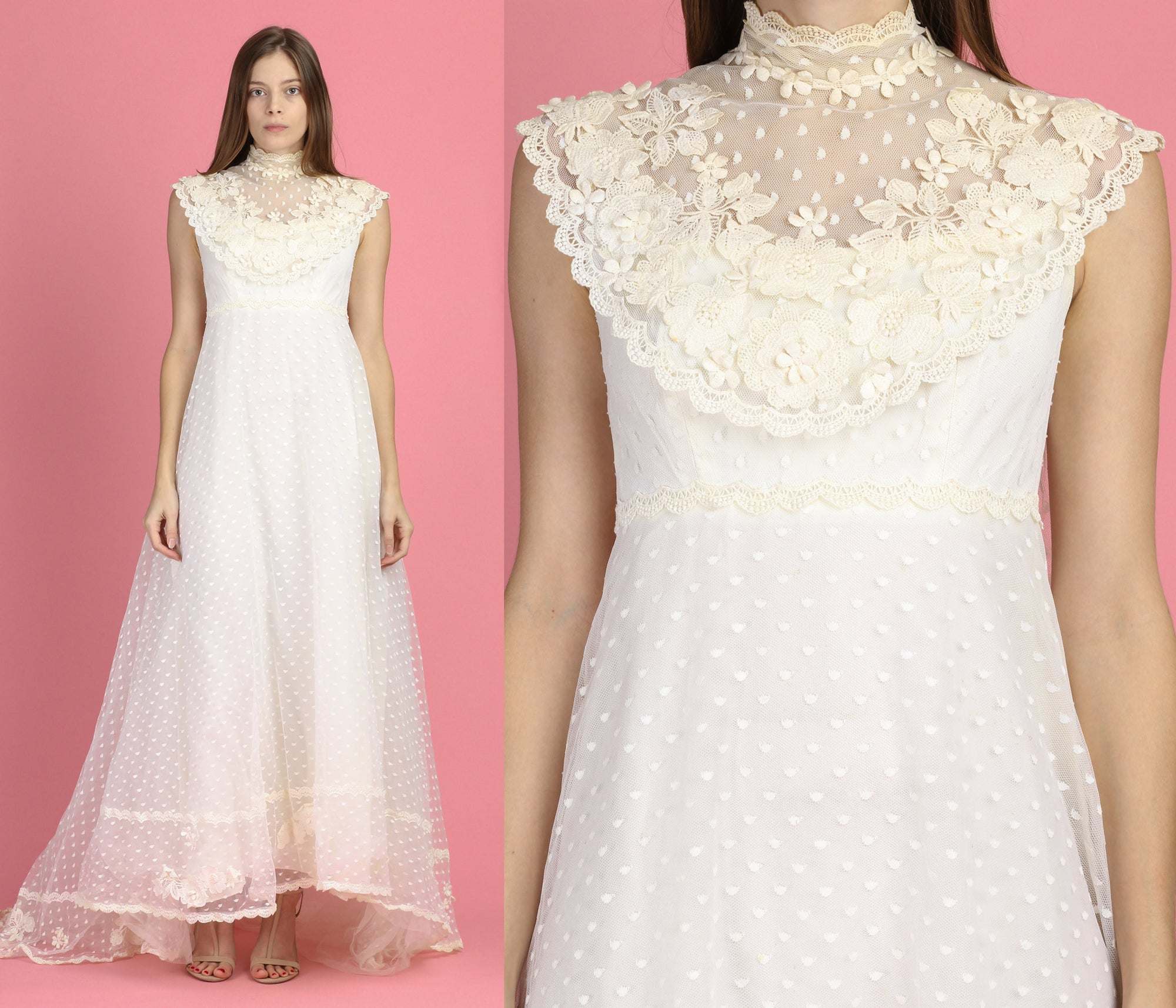 Vintage 70s Boho Bianchi Wedding Gown - Small
