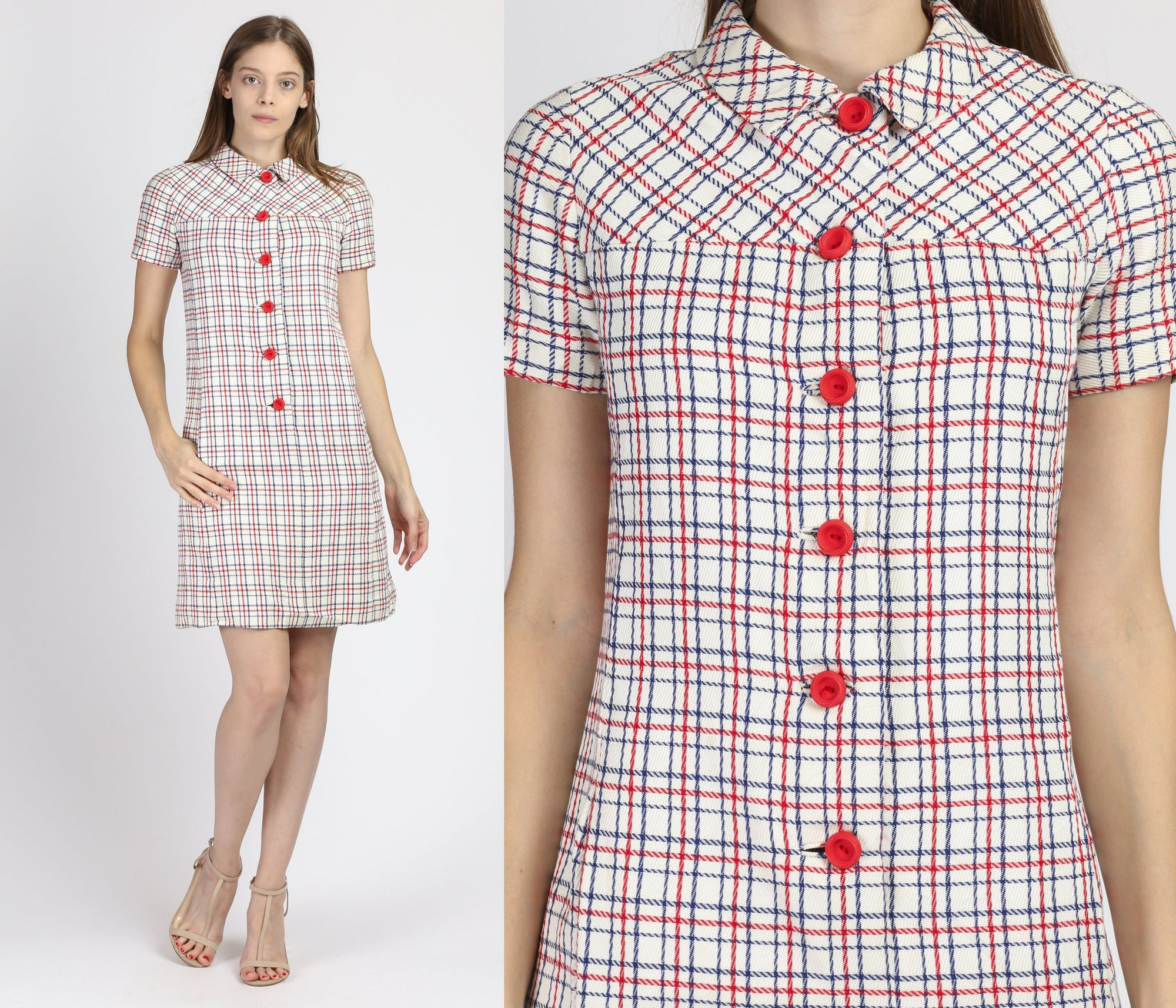 60s Mod Plaid Button Up Shift Dress - Extra Small