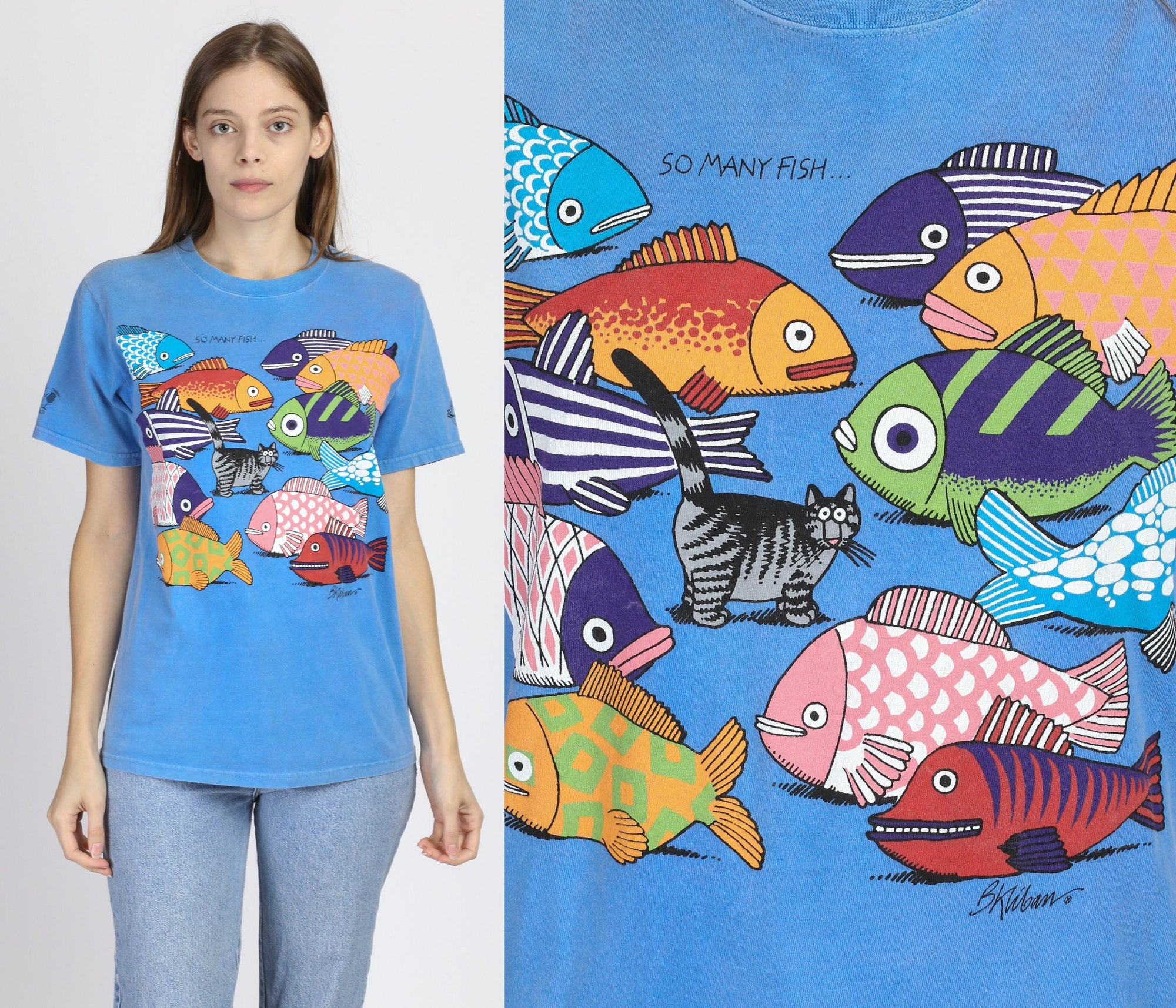 "Vintage Kliban ""So Many Fish..."" Cat Crazy Shirts Hawaii Tee - Small"