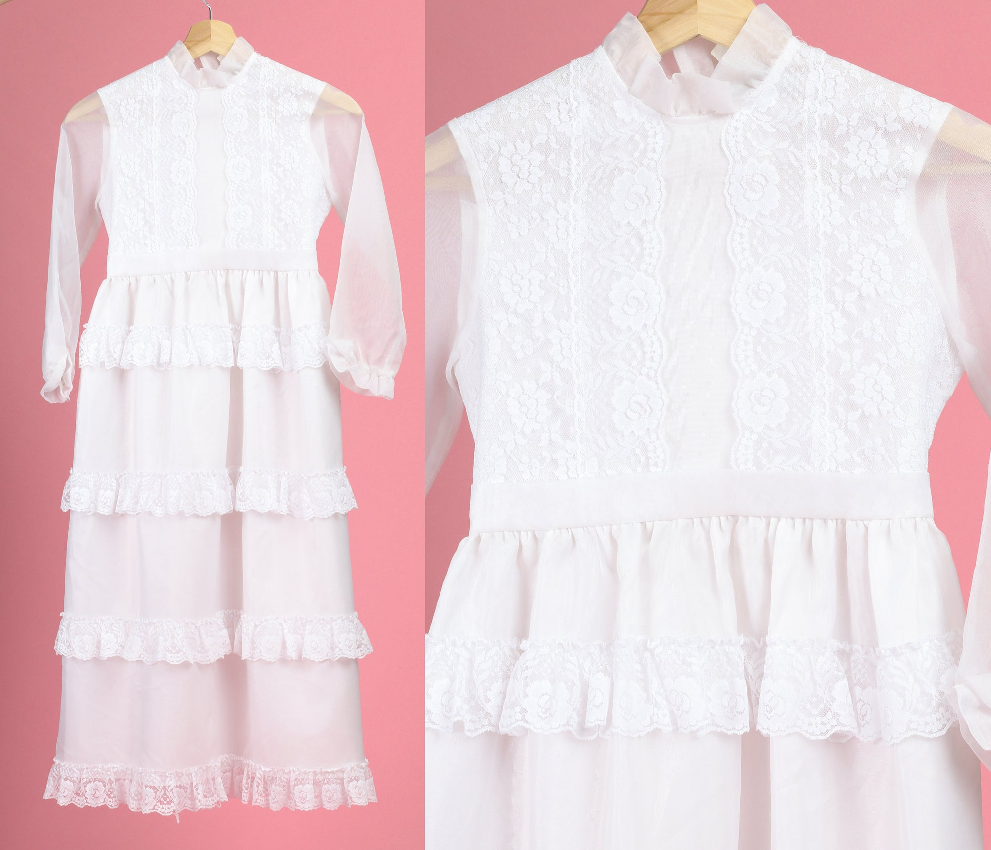 70s Girl's White Lace Formal Dress - Size 8