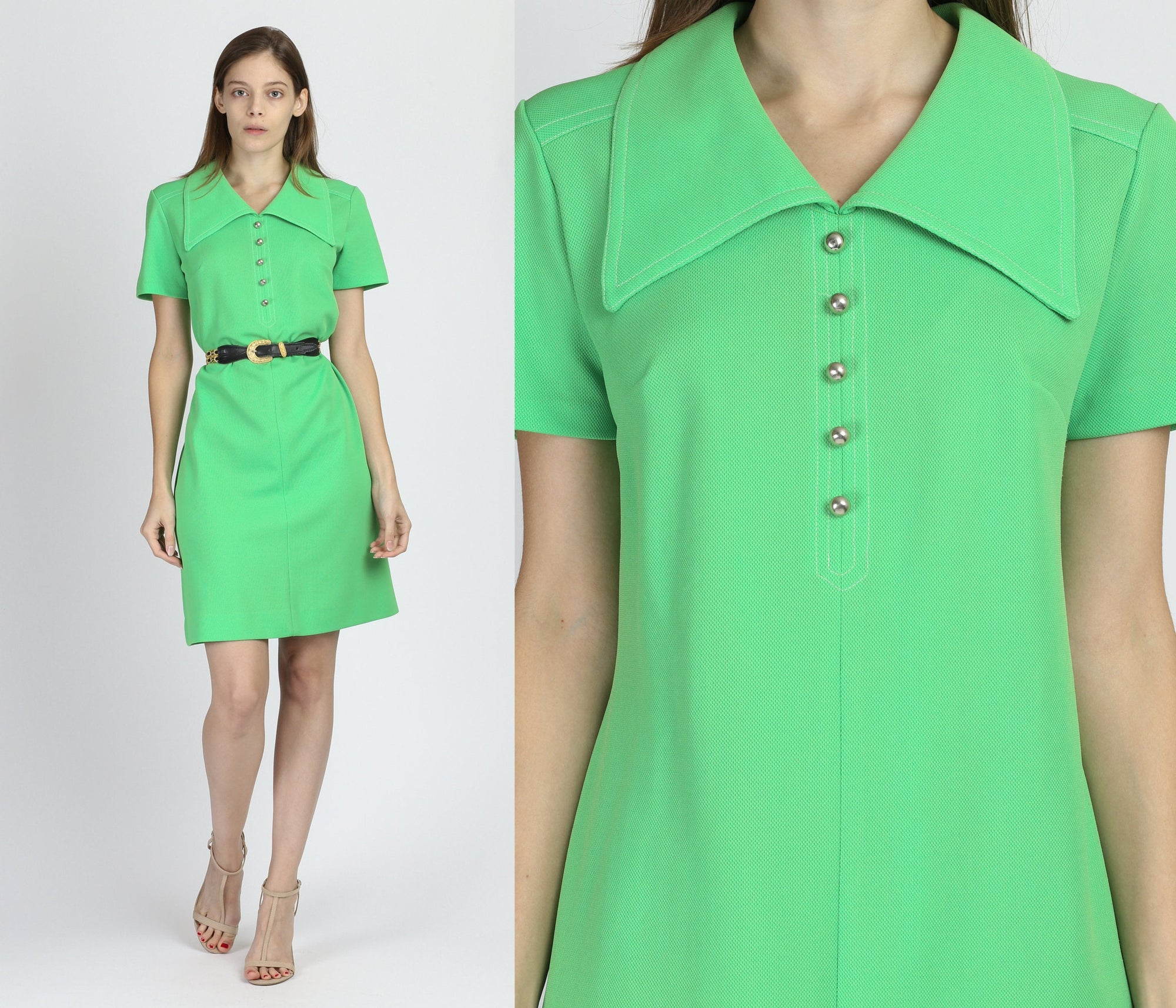 70s Green Collared Shift Dress - Medium to Large