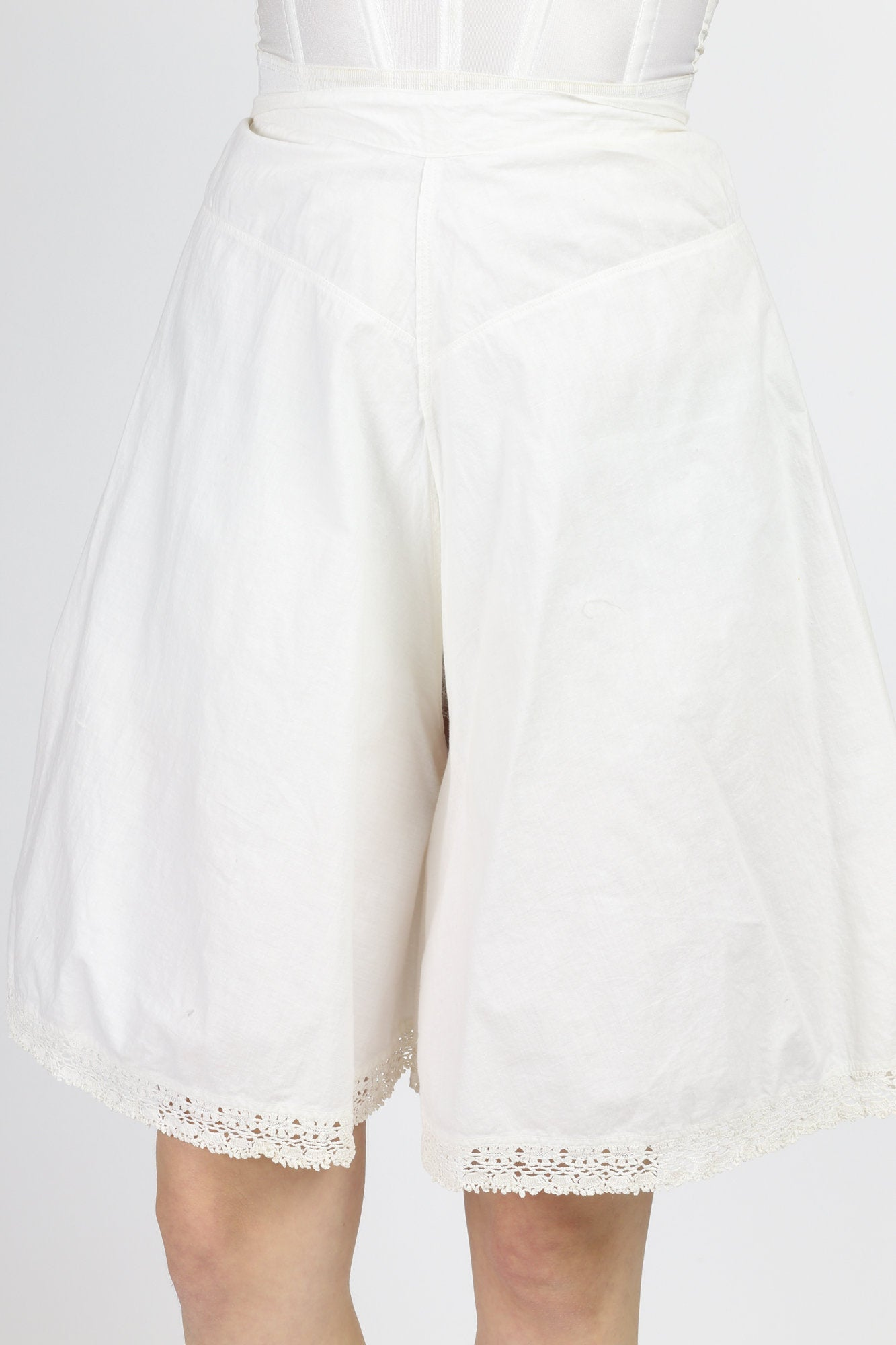Antique Edwardian White Cotton Bloomers - Extra Small