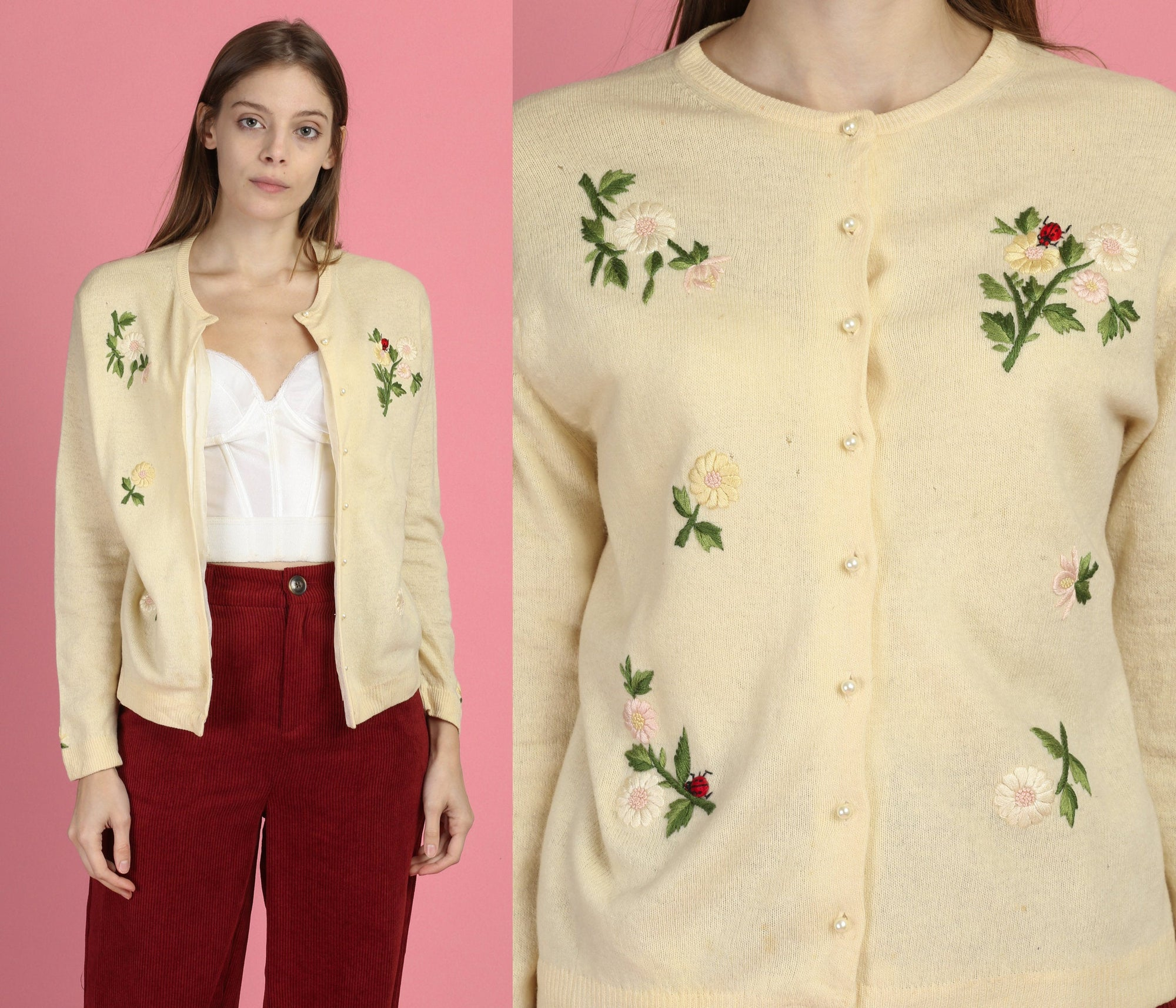1950s Embroidered Floral Ladybug Cardigan - Large