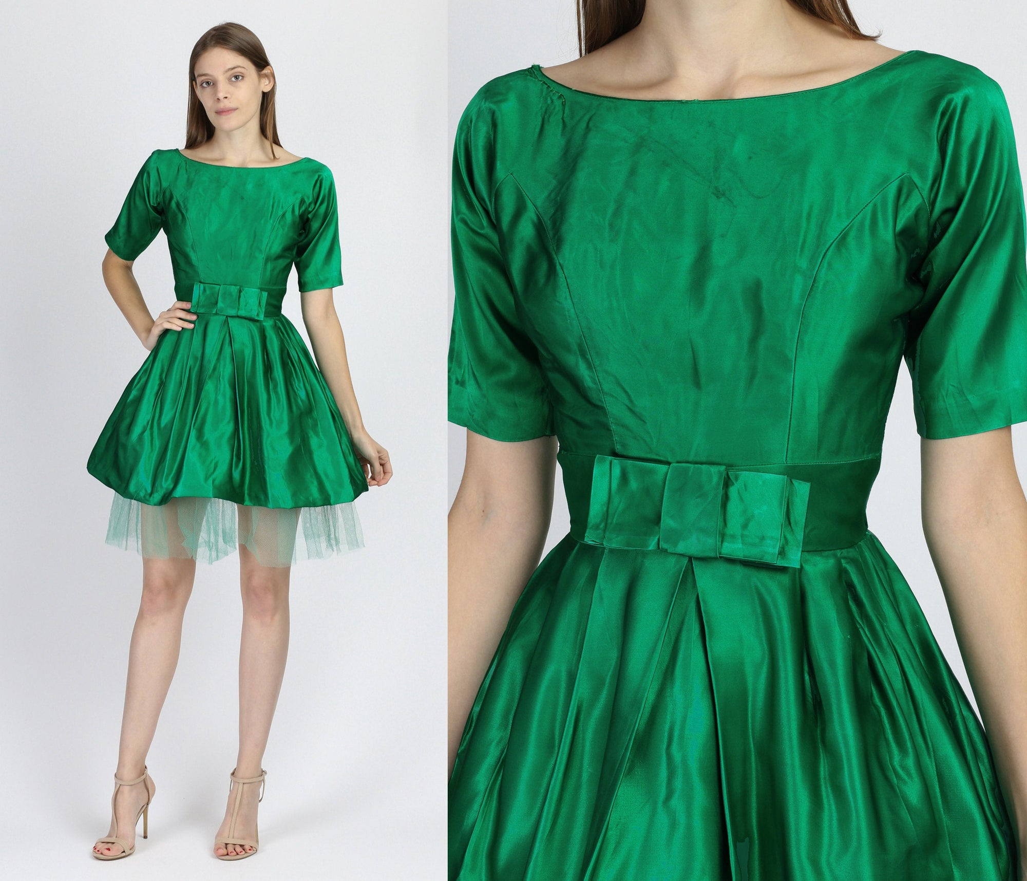 Vintage 1950s Green Satin Party Dress - Extra Small