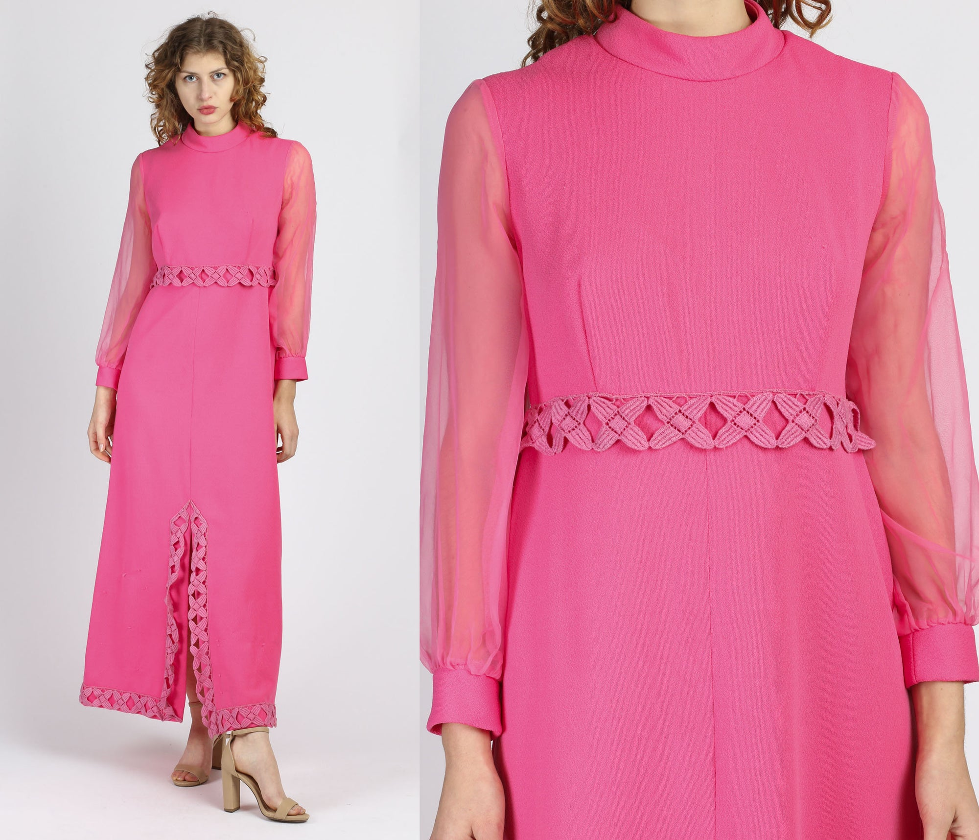 70s Pink Crochet Trim Sheer Sleeve Maxi Dress - Medium