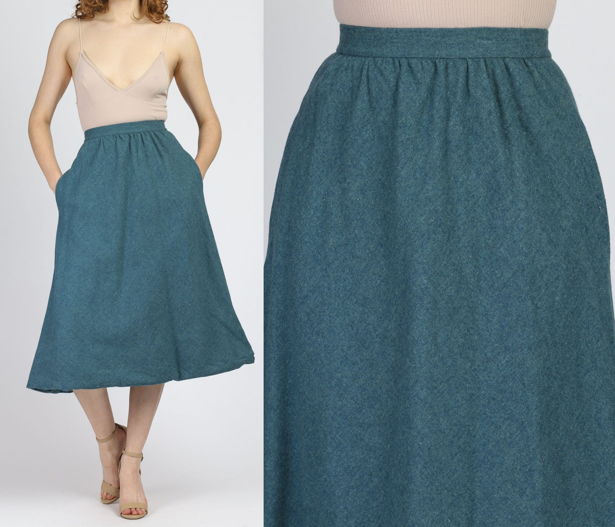 70s Teal Pendleton Midi Skirt - Extra Small, 25""