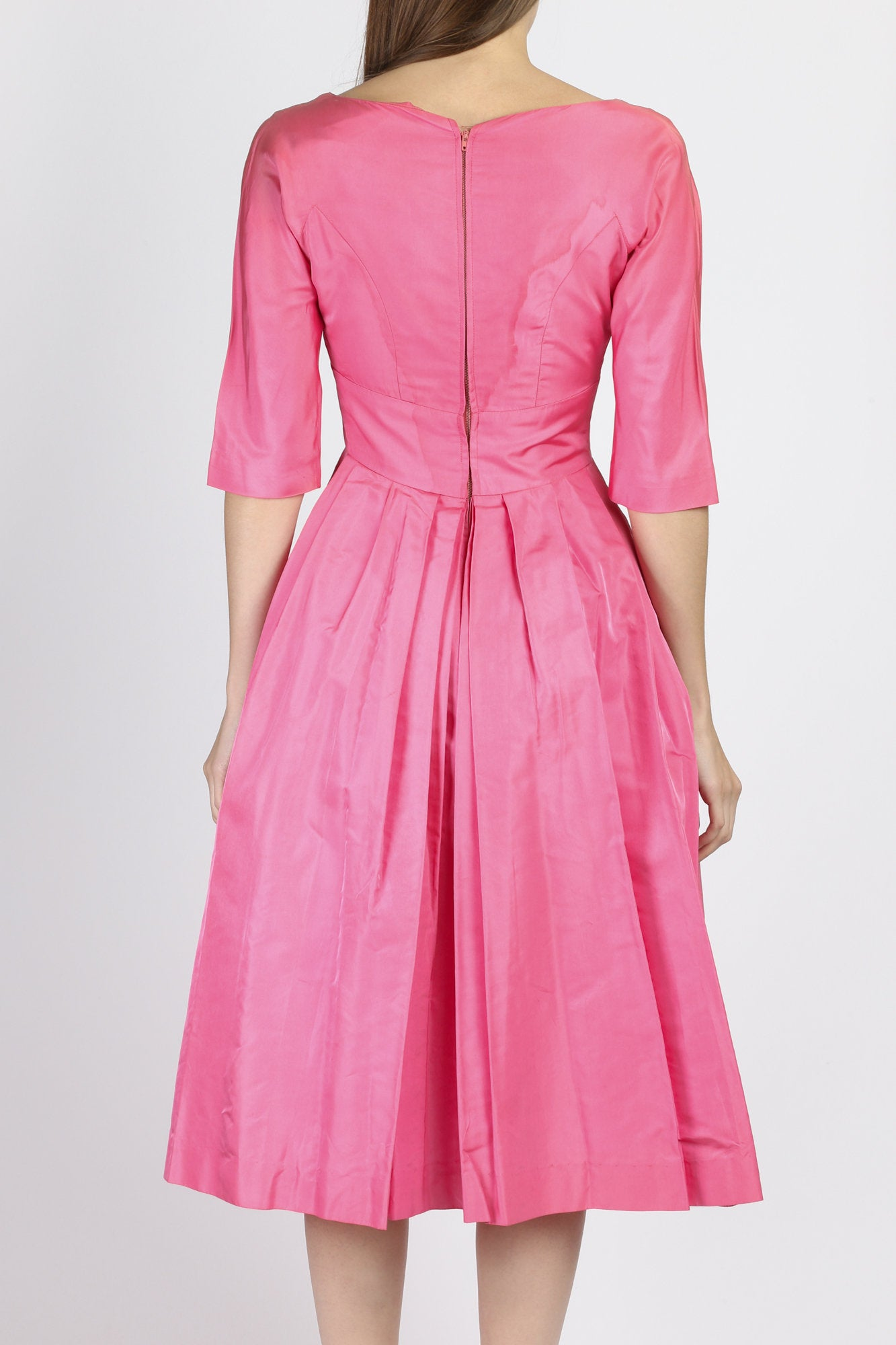 Vintage 1950s Pink Bow Party Dress - Extra Small
