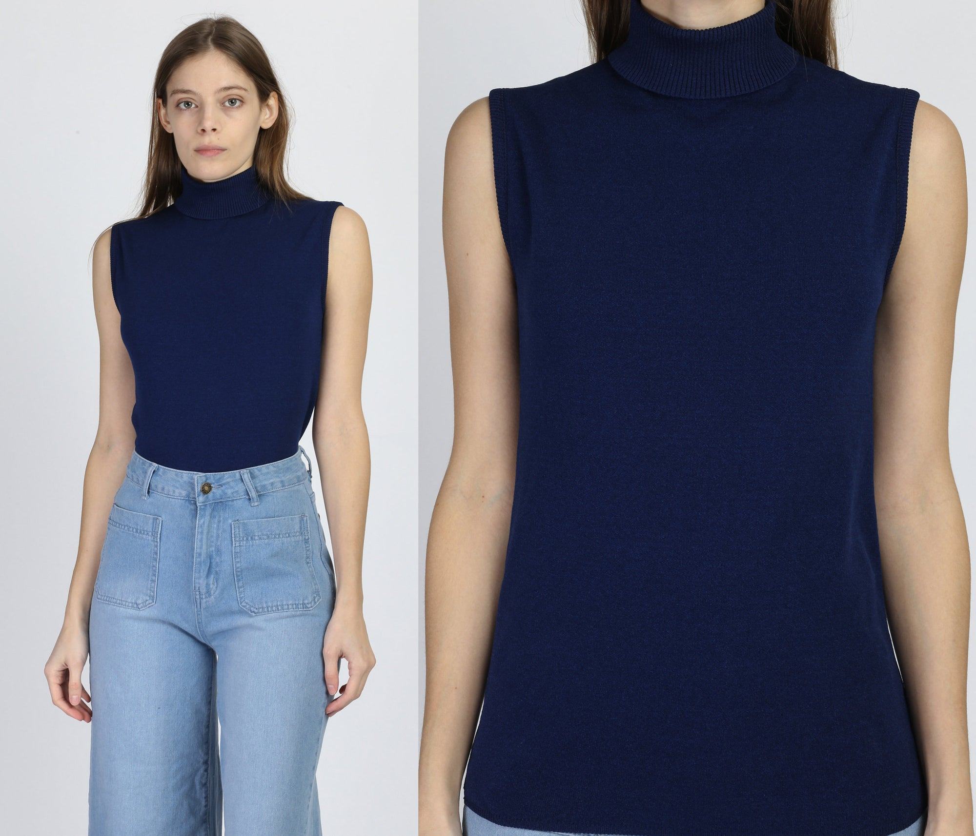 70s Navy Blue Sleeveless Turtleneck Top - Medium