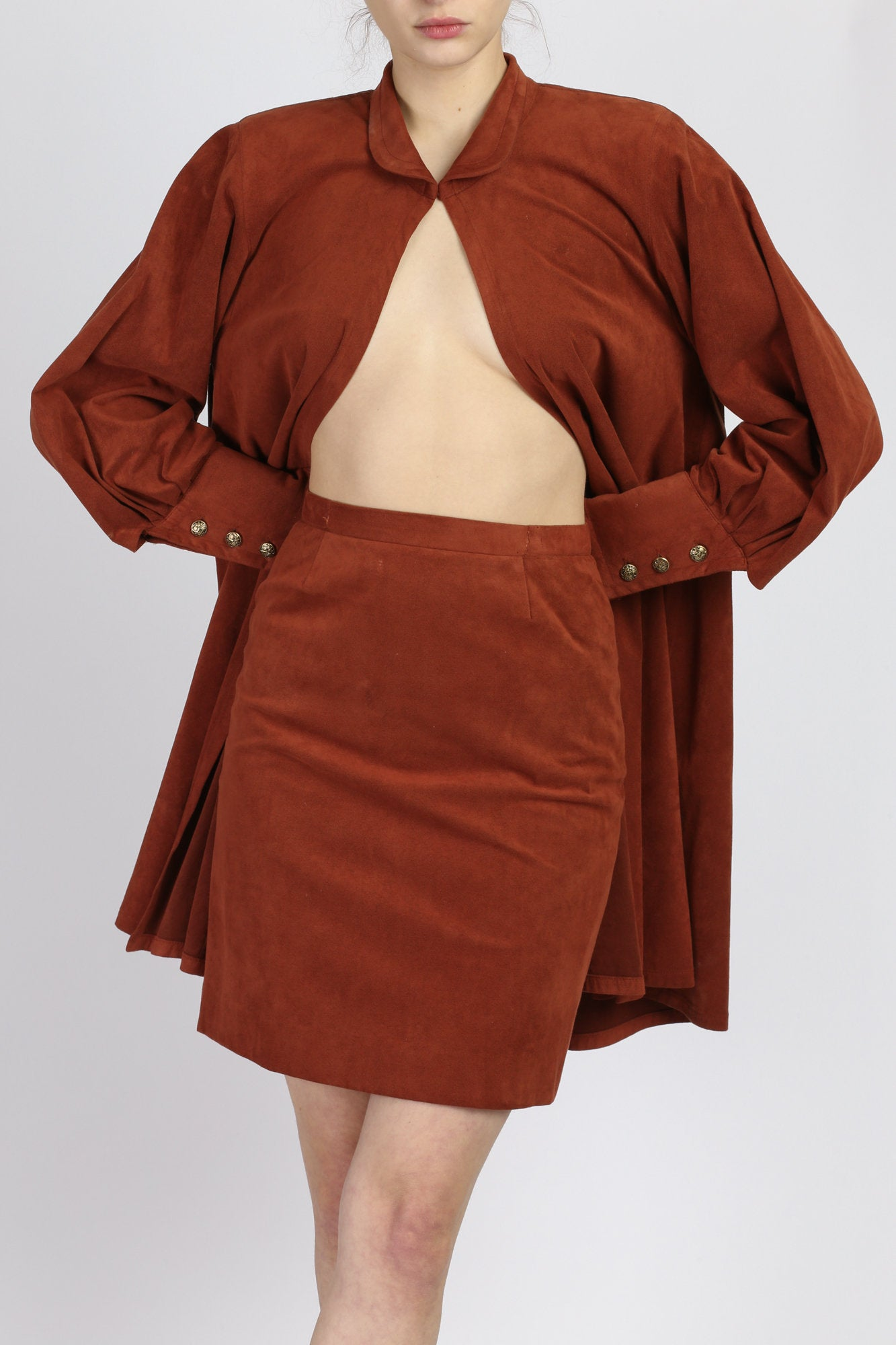 Vintage Lilli Ann Rust Red Ultra-Suede Open Front Coat & Skirt Set - Small